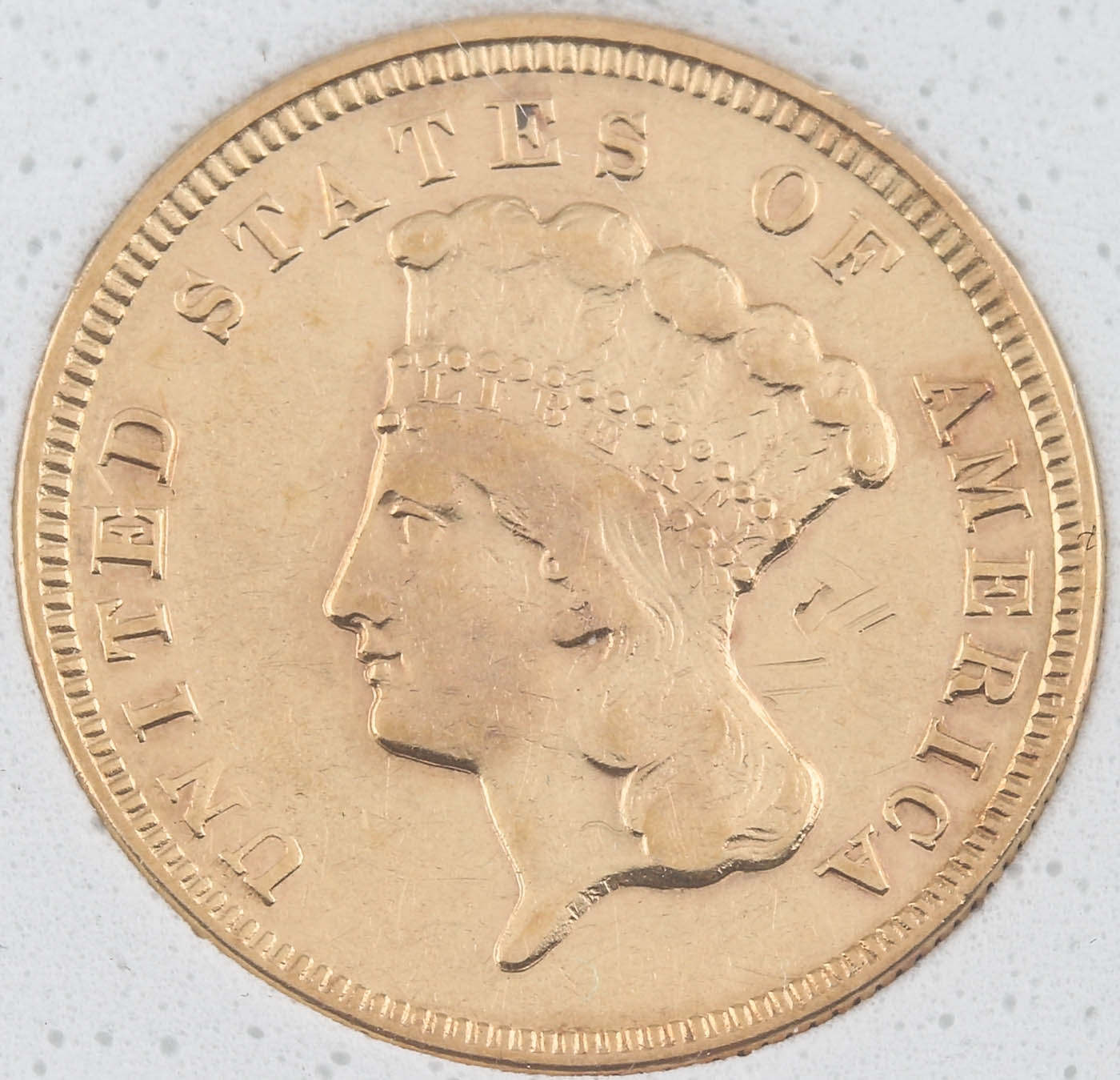 Low Mintage 1872 Indian Head Princess $3 Gold Coin