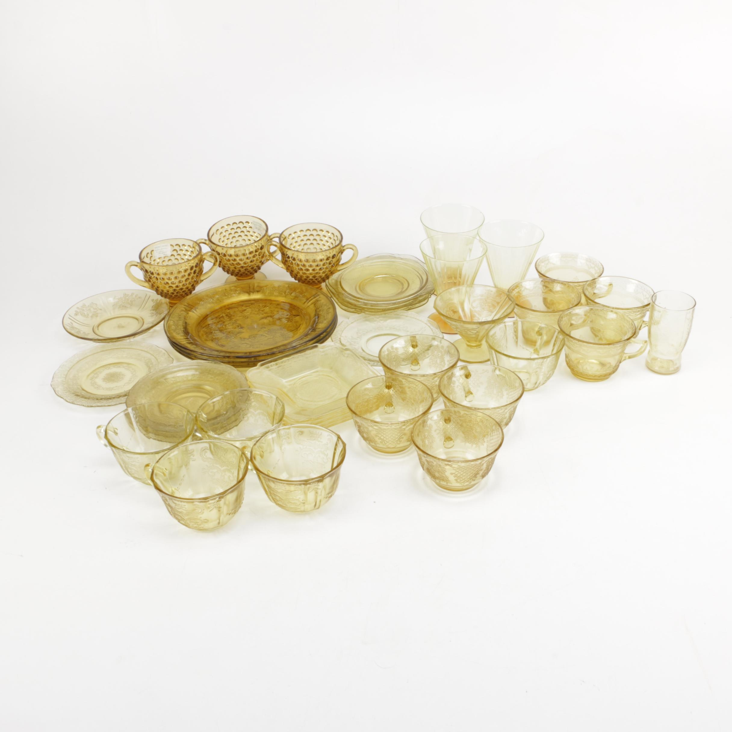 Amber Depression Glass Tableware