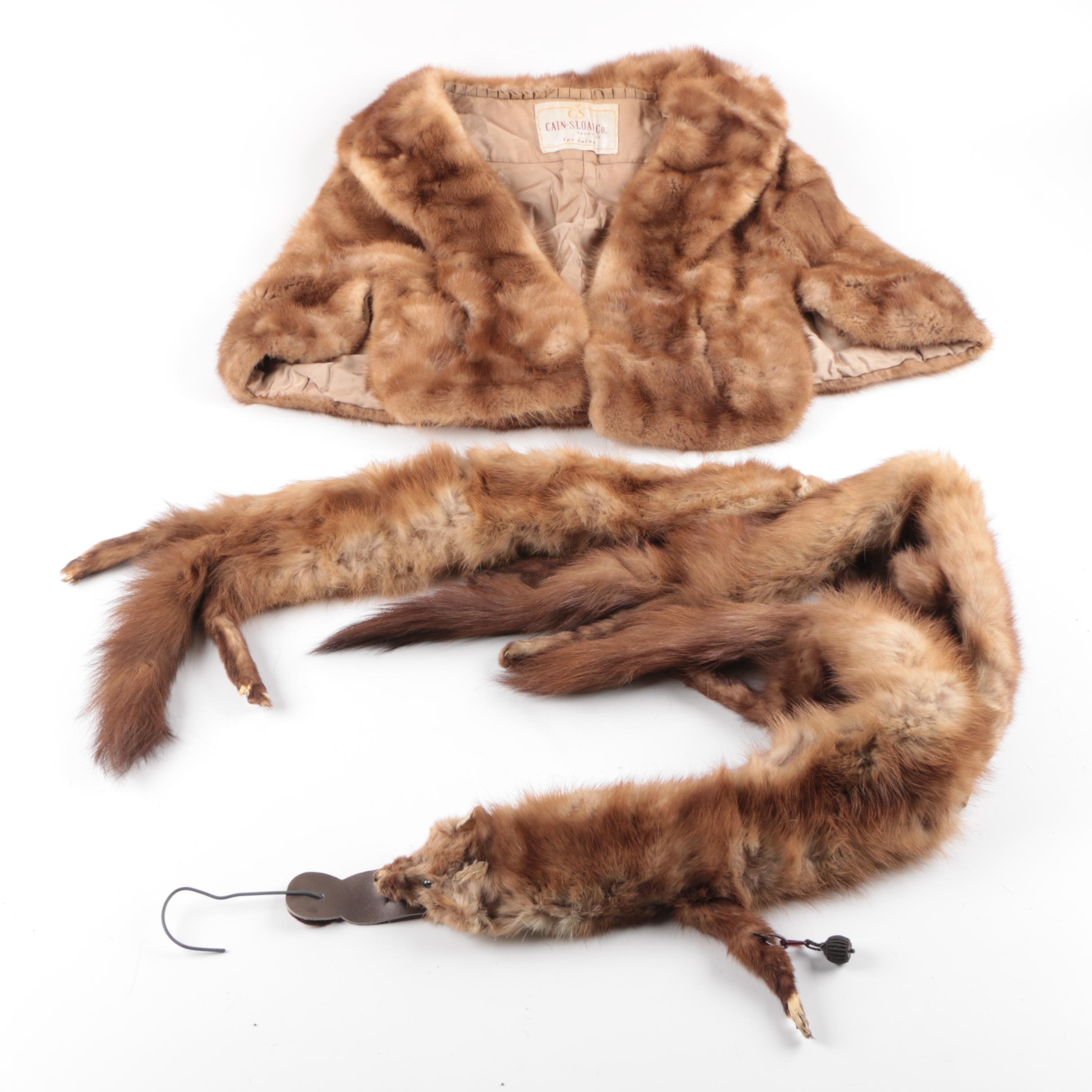 Vintage Mink Fur Stole and Scarf