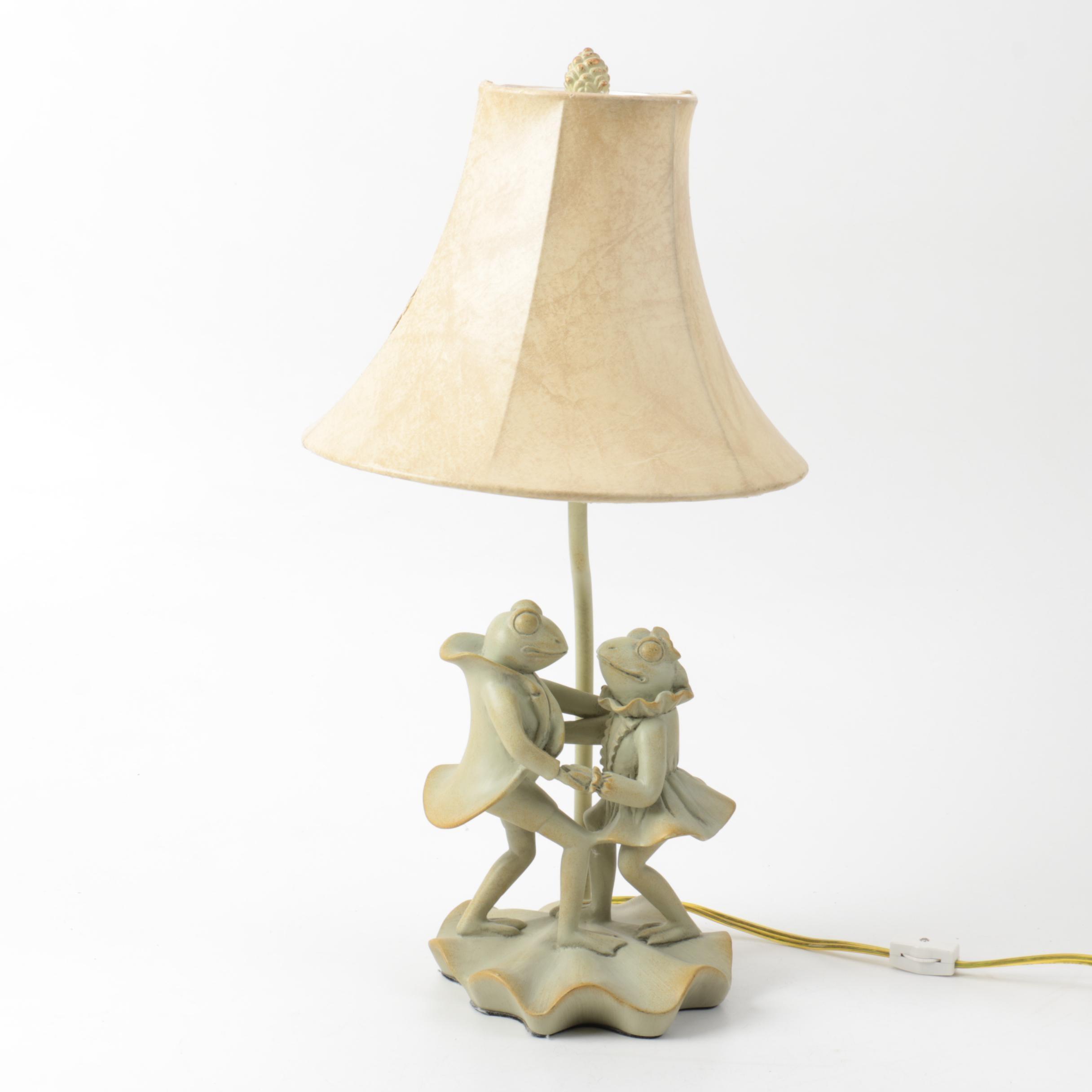 Ceramic Dancing Frog Couple Table Lamp