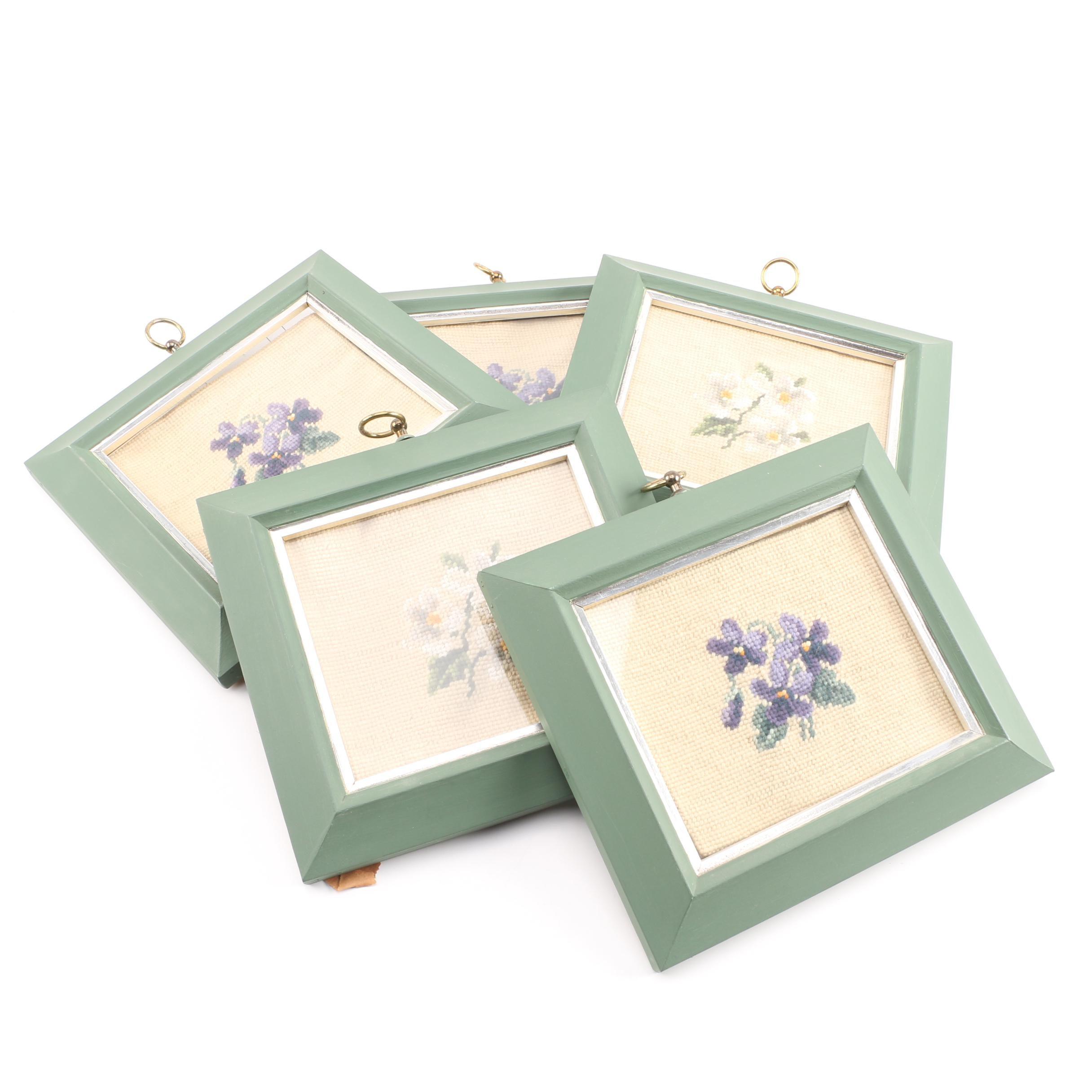 Set of Floral Framed Needlepoints