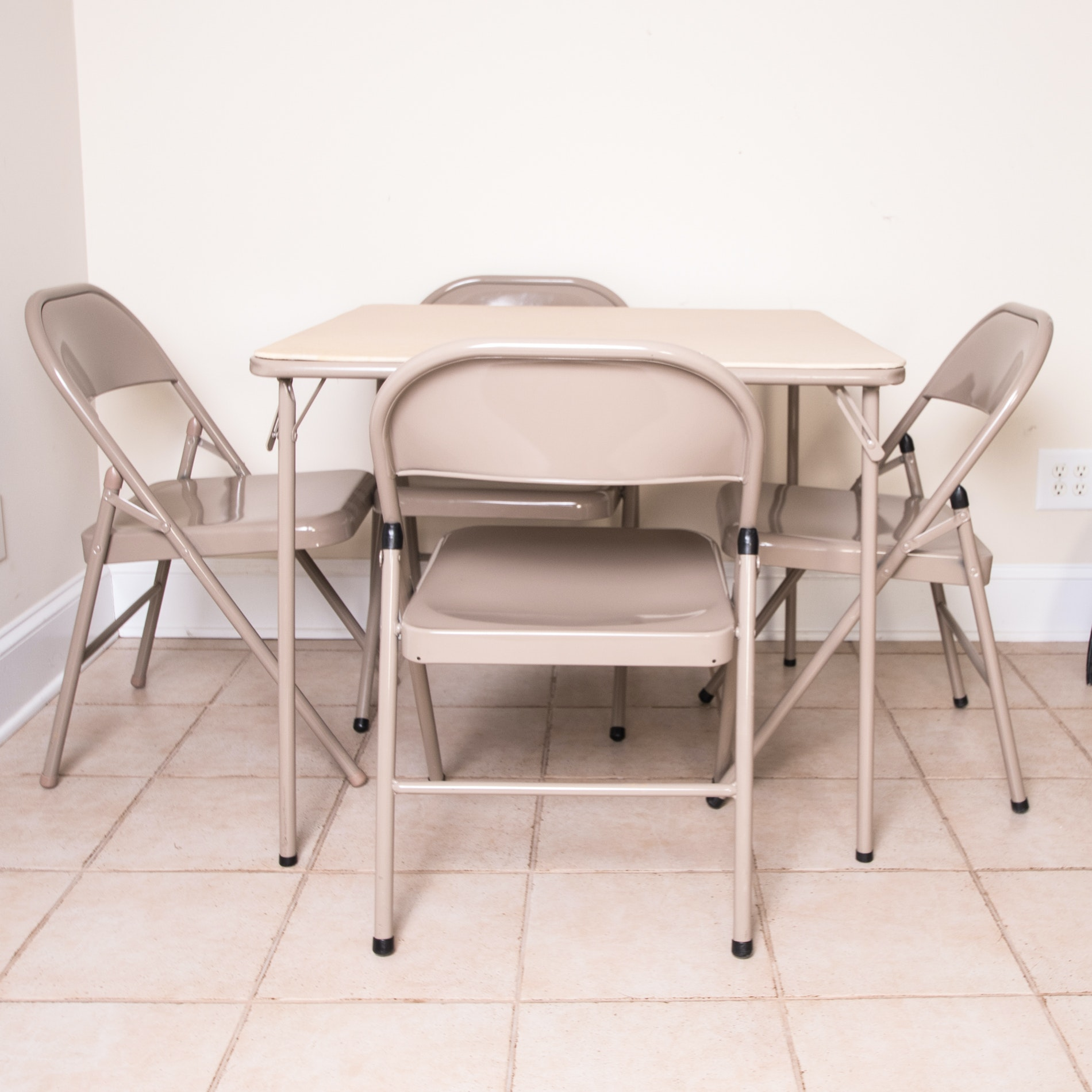 Metal Card Table and Folding Chairs