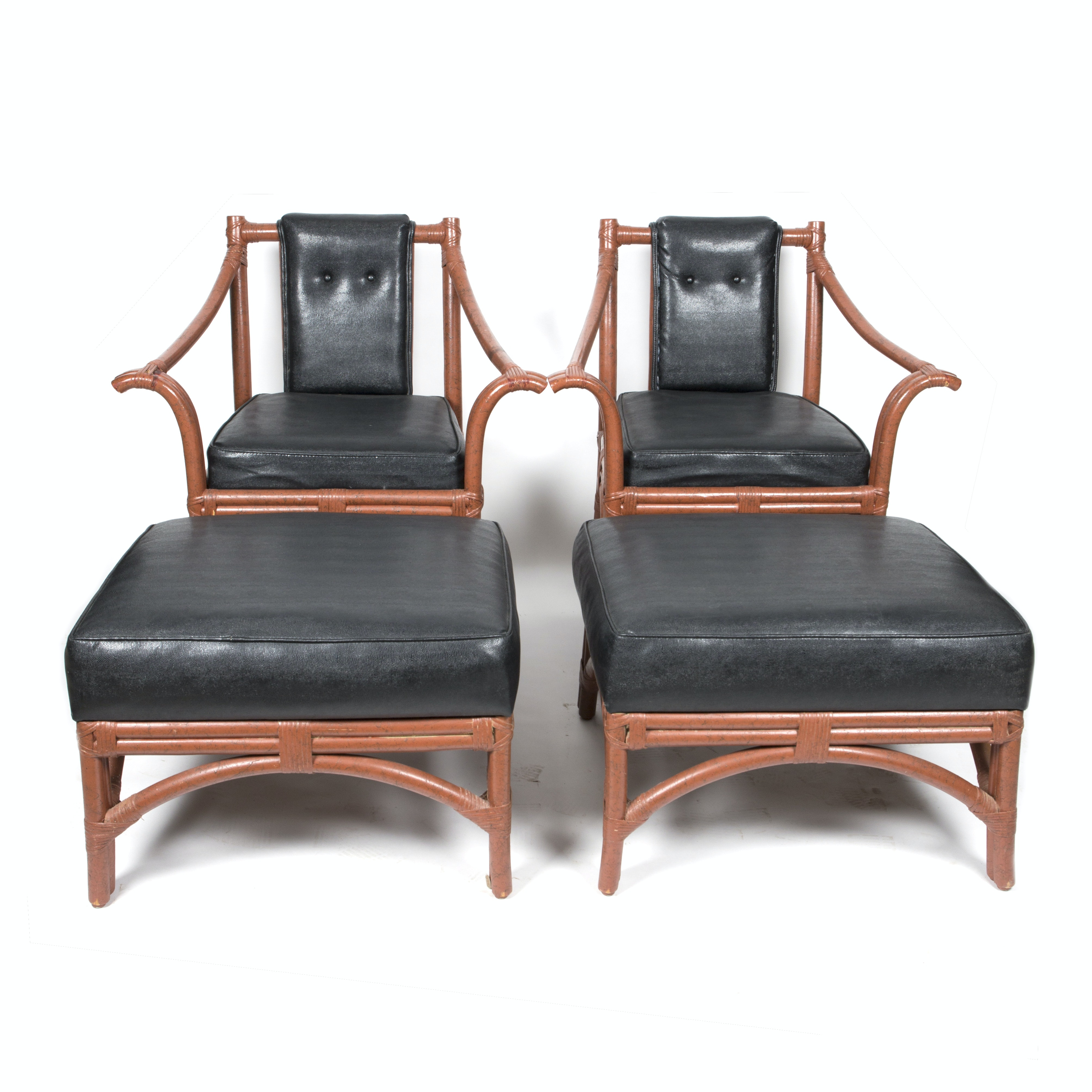 Pair of Ficks Reed Leather and Rattan Chairs and Ottomans