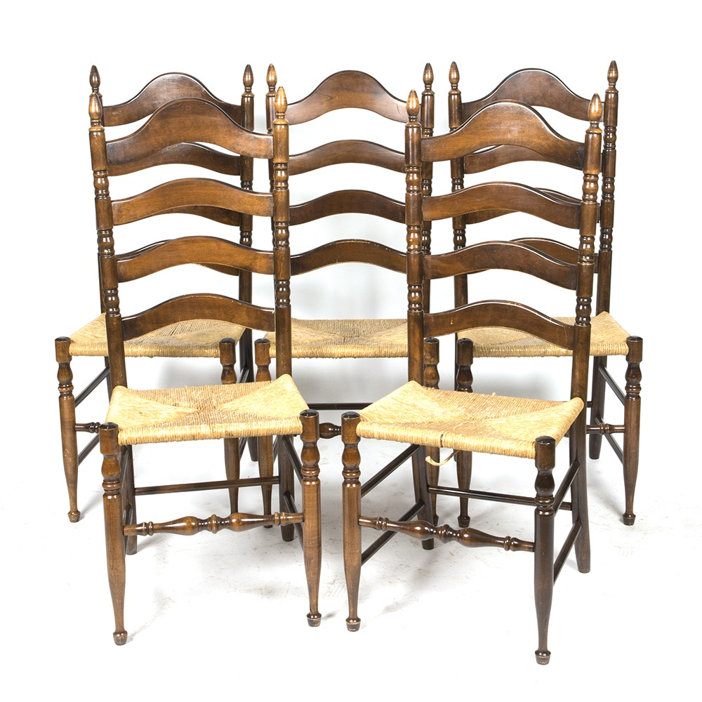Set of Five Walnut Finished Ladder Back and Rush Dining Chairs