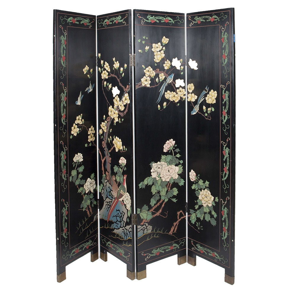 Asian Inspired Black Lacquer Screen