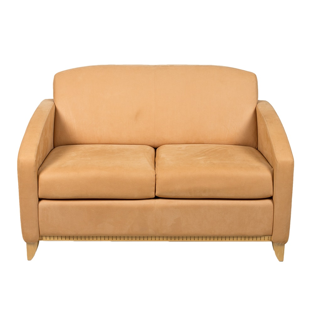 Contemporary Faux Suede Upholstered Sofa