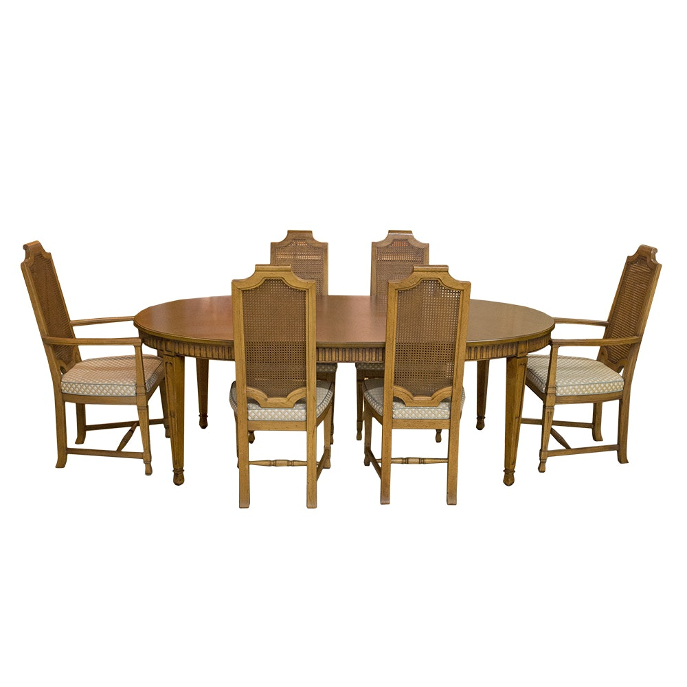 Mediterranean Style Walnut Table and Six Chairs from Henredon