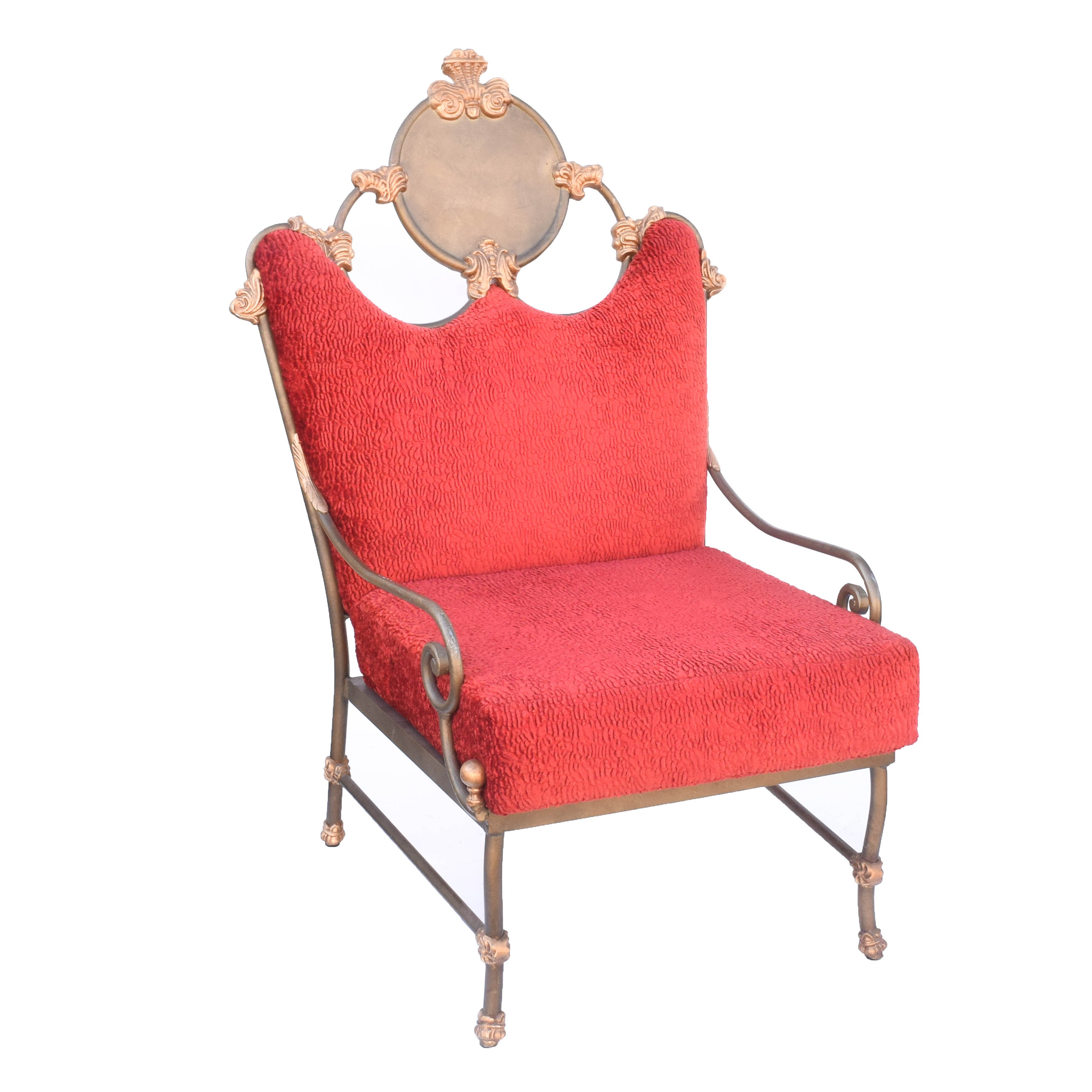 Neoclassical Inspired Metal Accent Chair with Red Upholstery