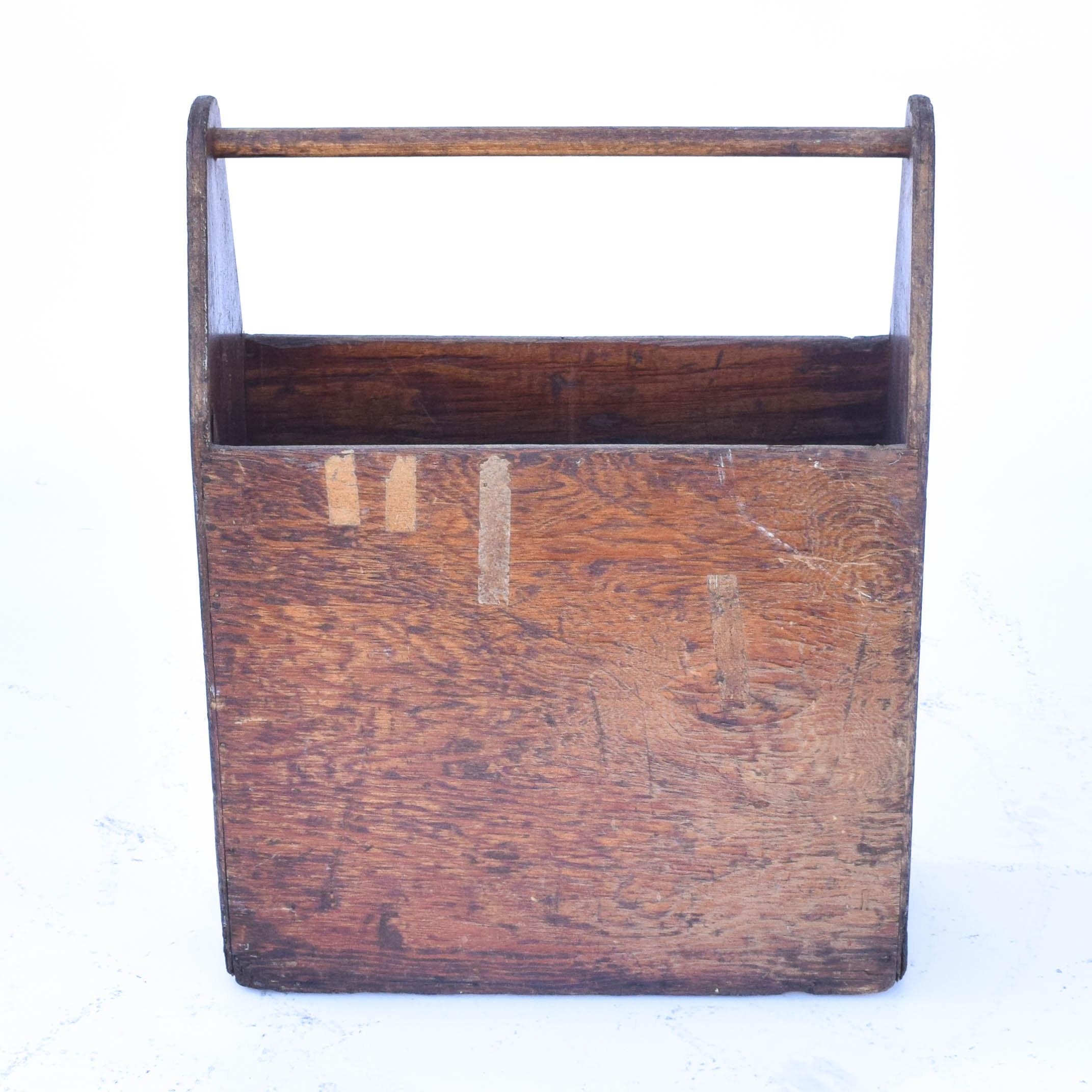 Vintage Rustic Wood Tool Tote