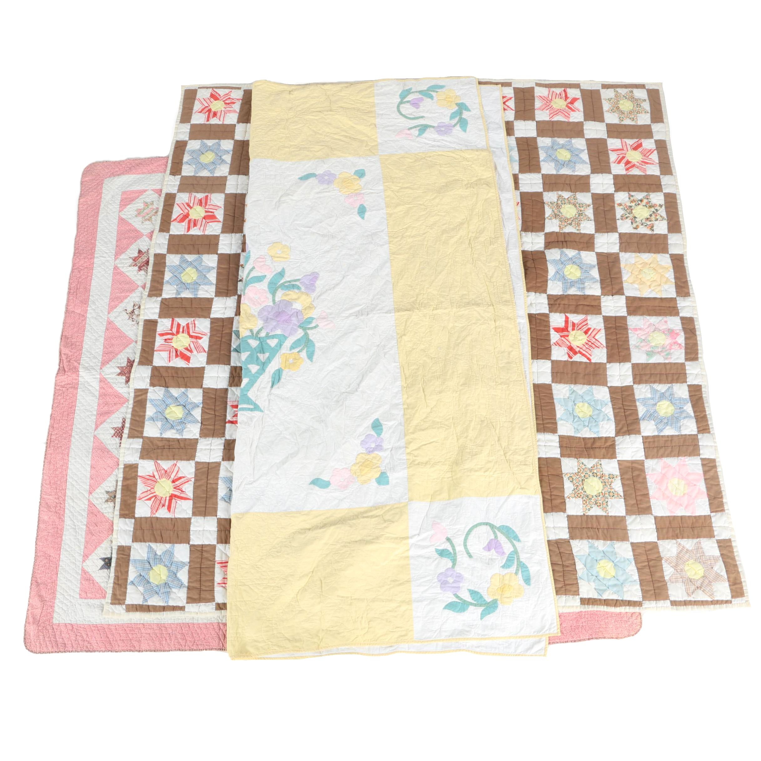 "Vintage Hand Crafted ""Eight Pointed Star"" and ""Floral Bouquet"" Quilts"