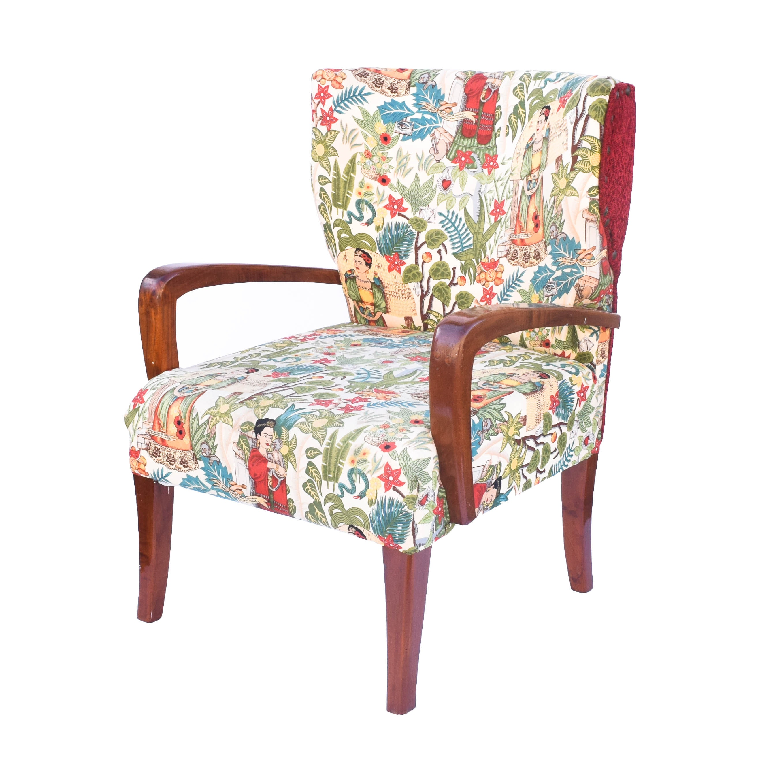 Mid-Century Accent Chair with Frida Kahlo Themed Upholstery