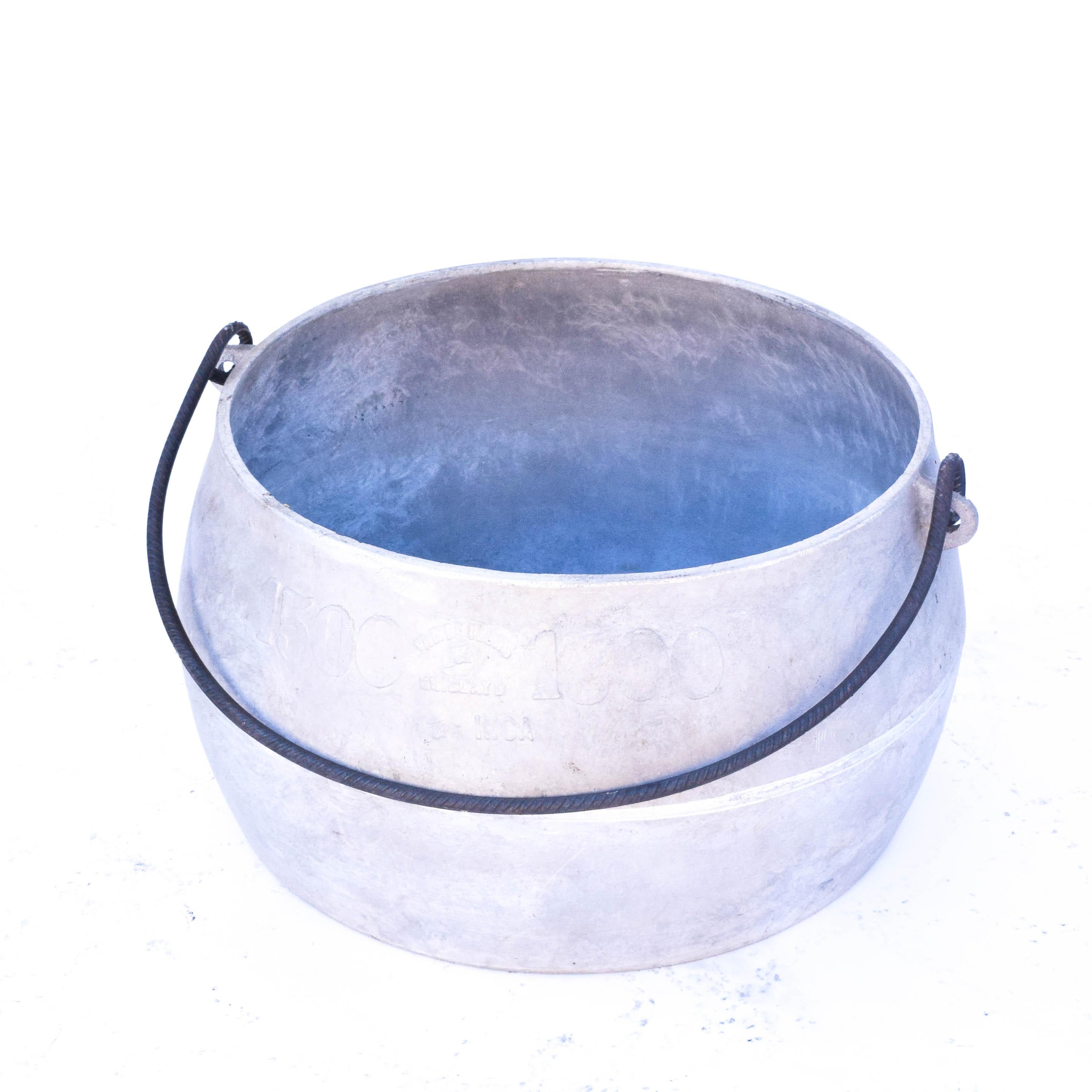 "Galvanized Aluminum Bucket Marked ""Chicolaya Peru 1500"""