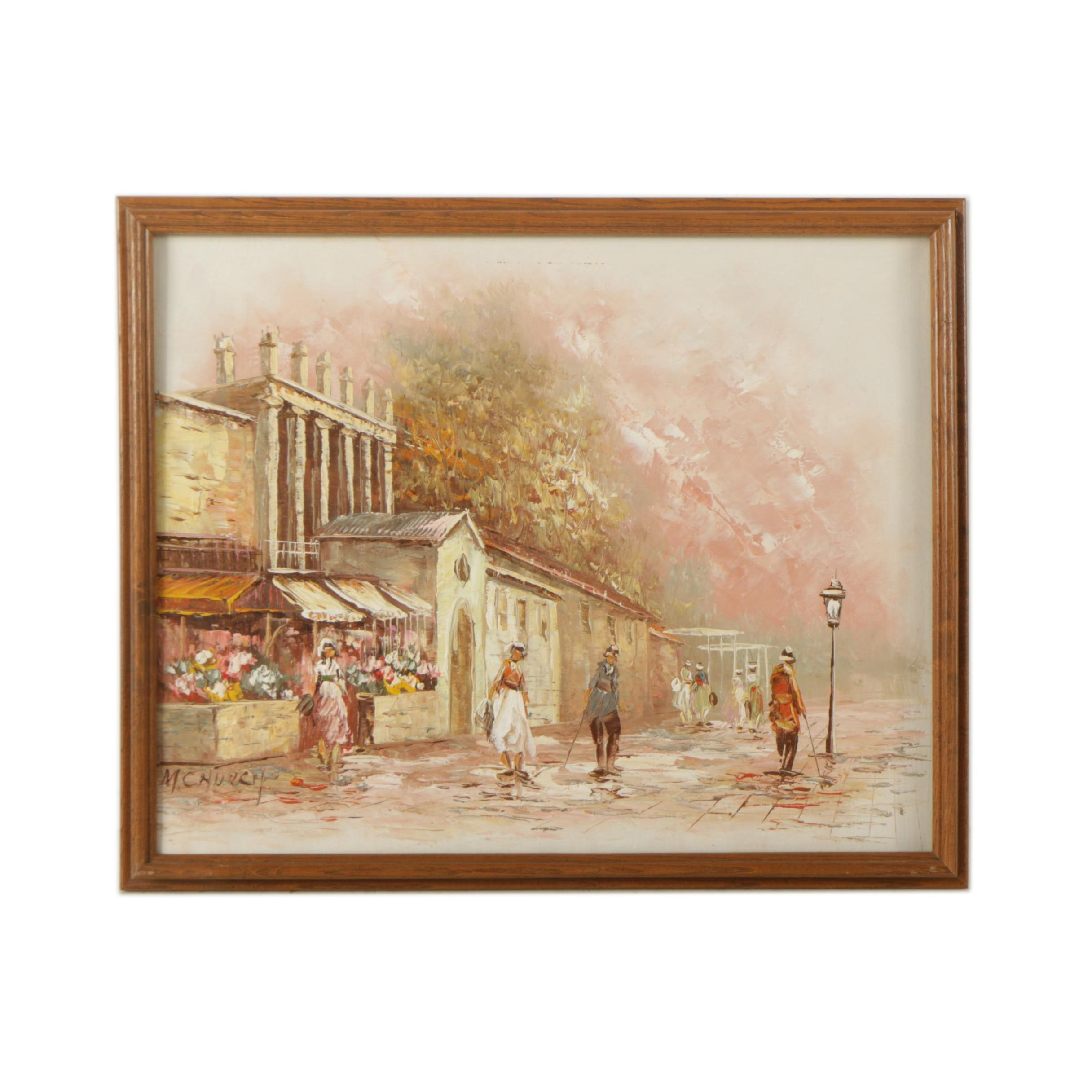 M. Church Oil Painting on Canvas of Street Scene