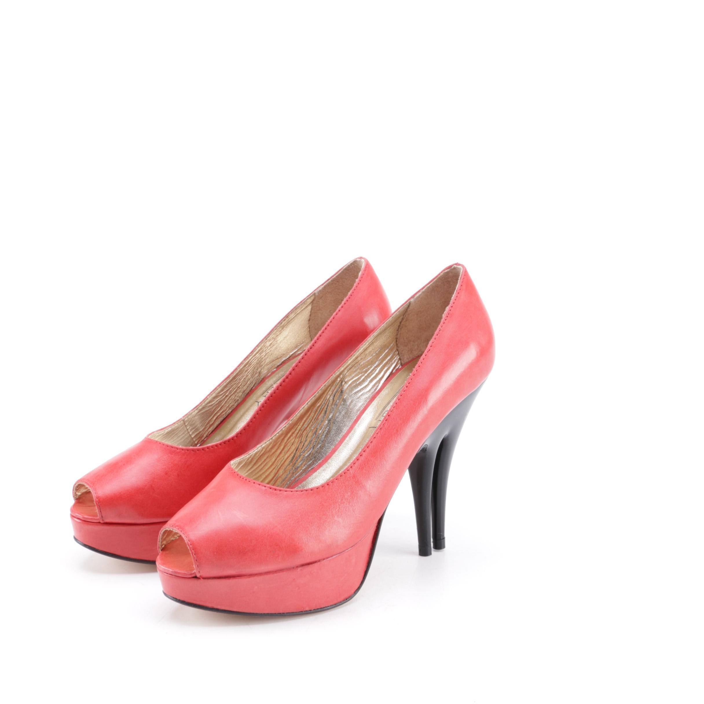 Christopher Coy Collection Prototype Peep-Toe Dual-Heel Stilettos