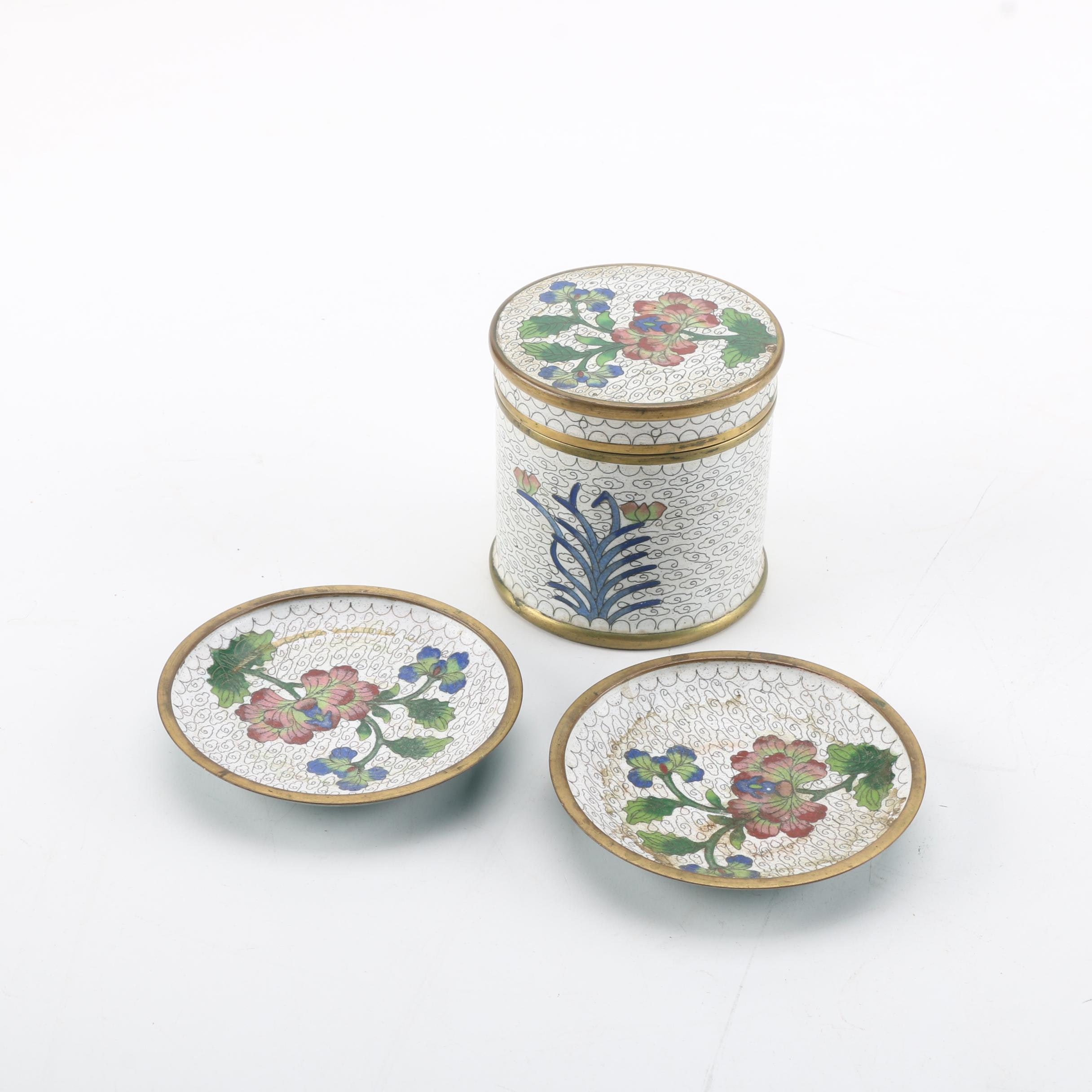 Chinese Cloisonné Jar and Saucers