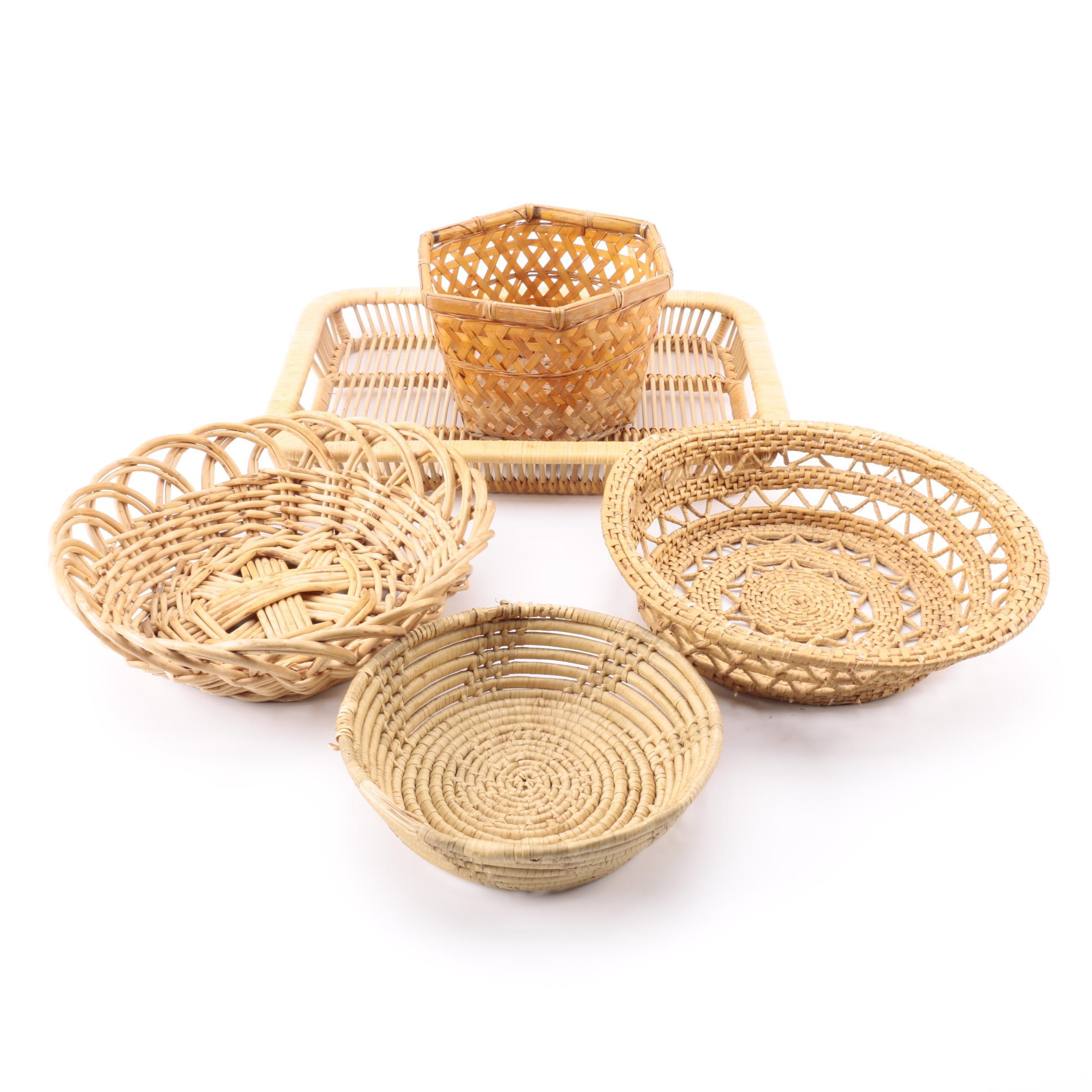 Set of Five Wicker Baskets