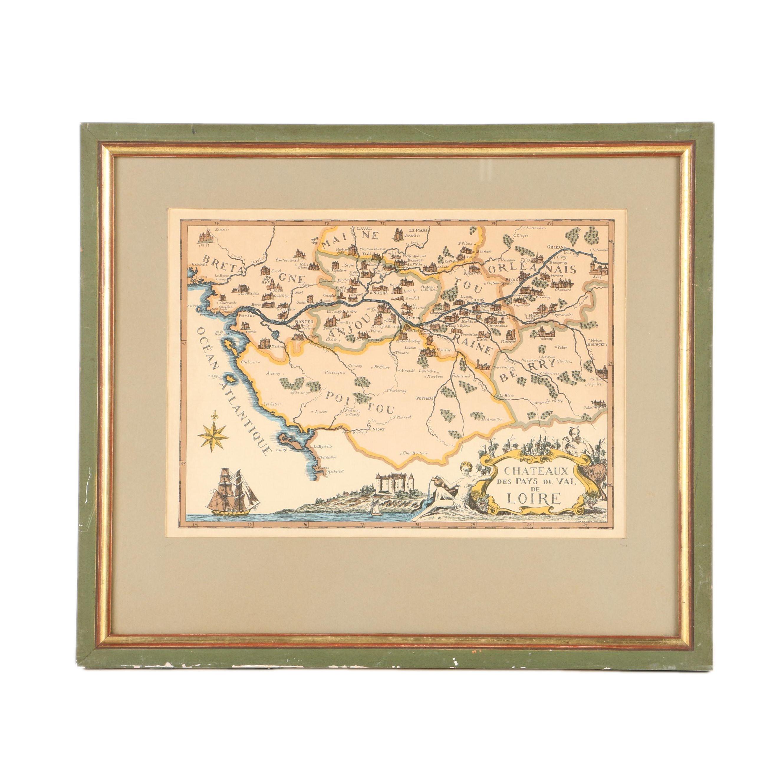 """Hand-Colored  Lithograph Map on Laid Paper """"Châteaux des Pays du Val de Loire"""""""