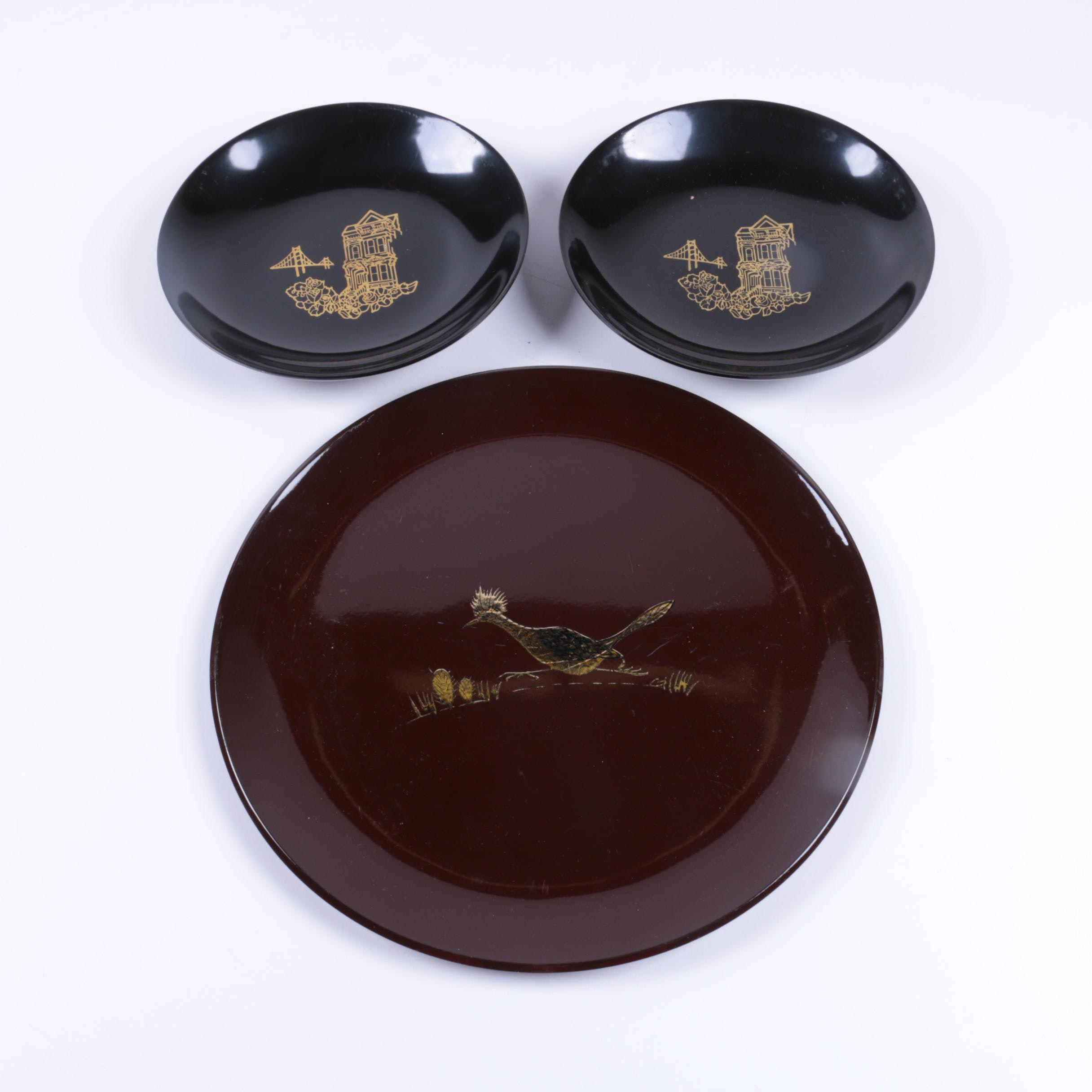 Japanese Handpainted Lacquered Plates