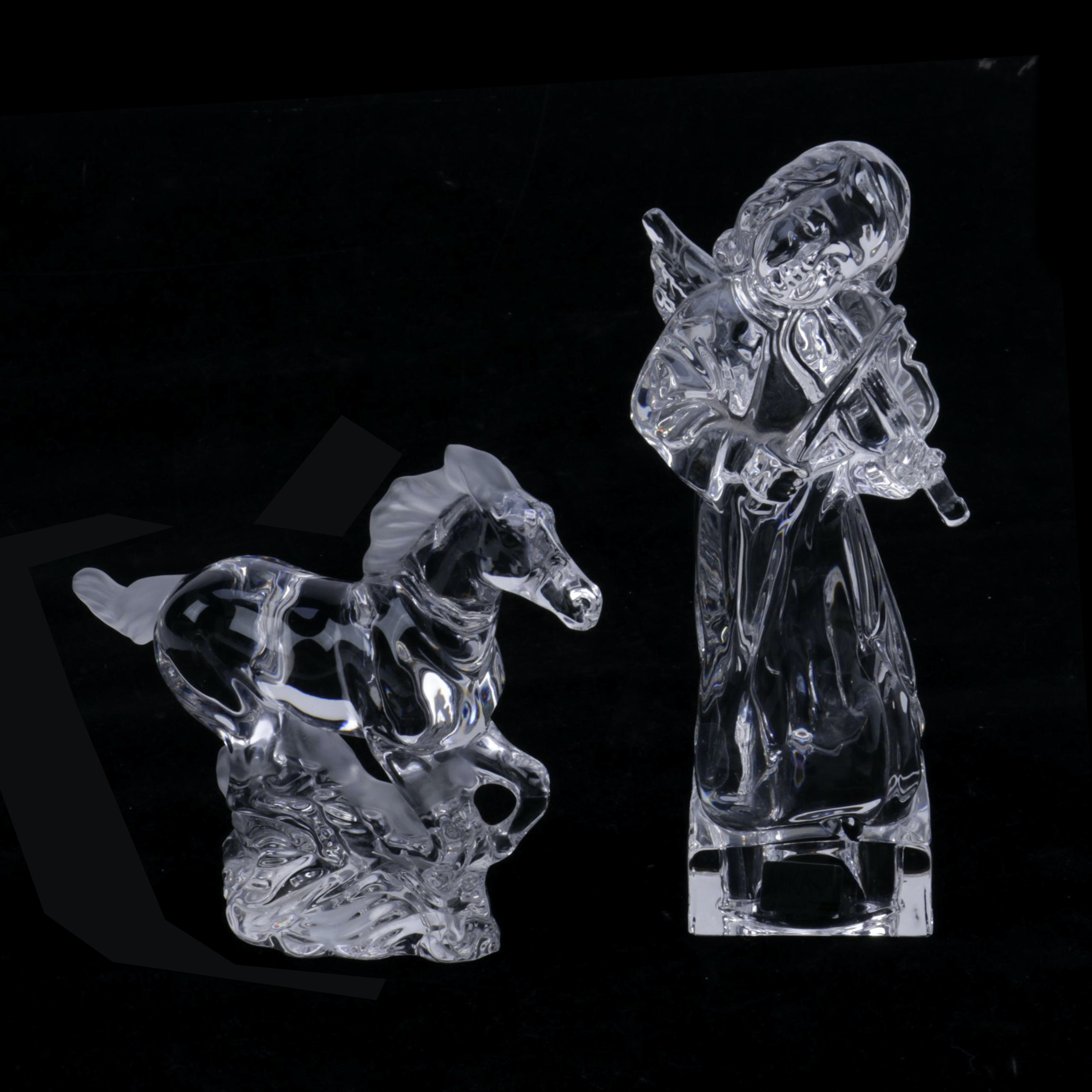 "Lenox ""Racing the Wind"" and Mikasa ""Angelic Violin"" Crystal Figurines"