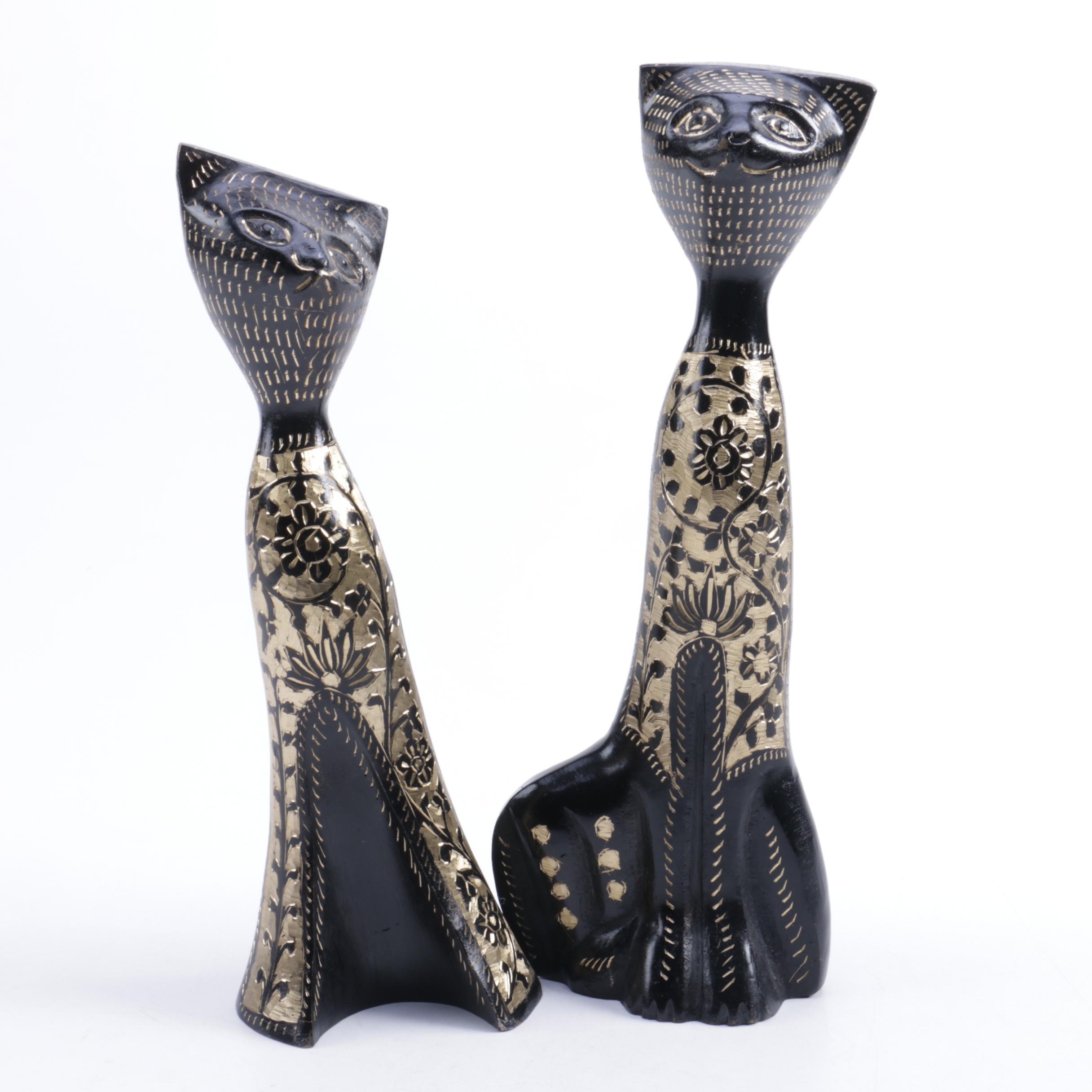 Whimsical Black Cat Figurines