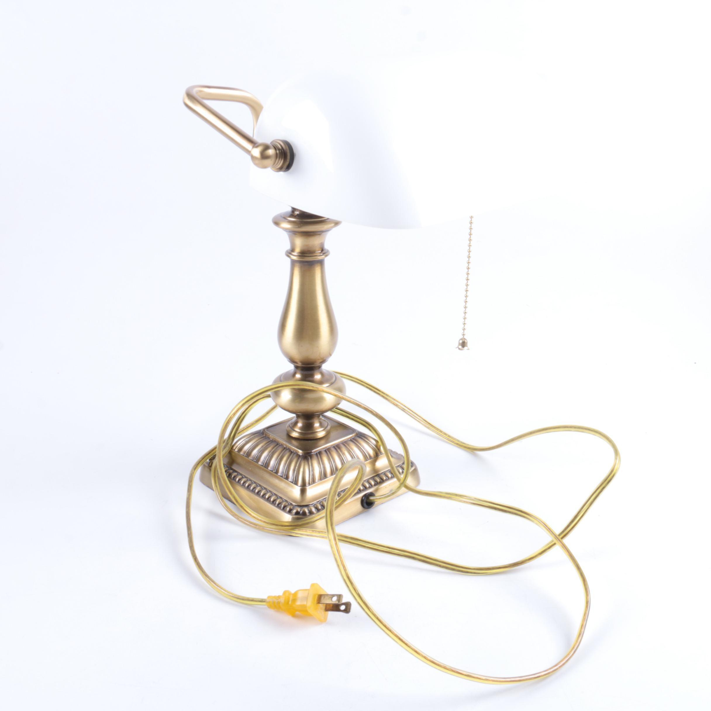 Brass Banker's Style Desk Lamp