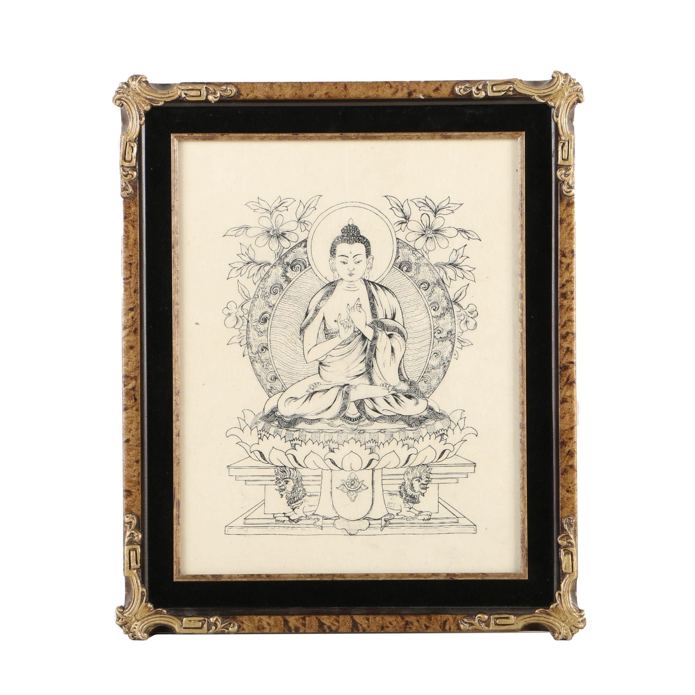 Chinese Style Relief Print on Rice Paper of Gautama Buddha