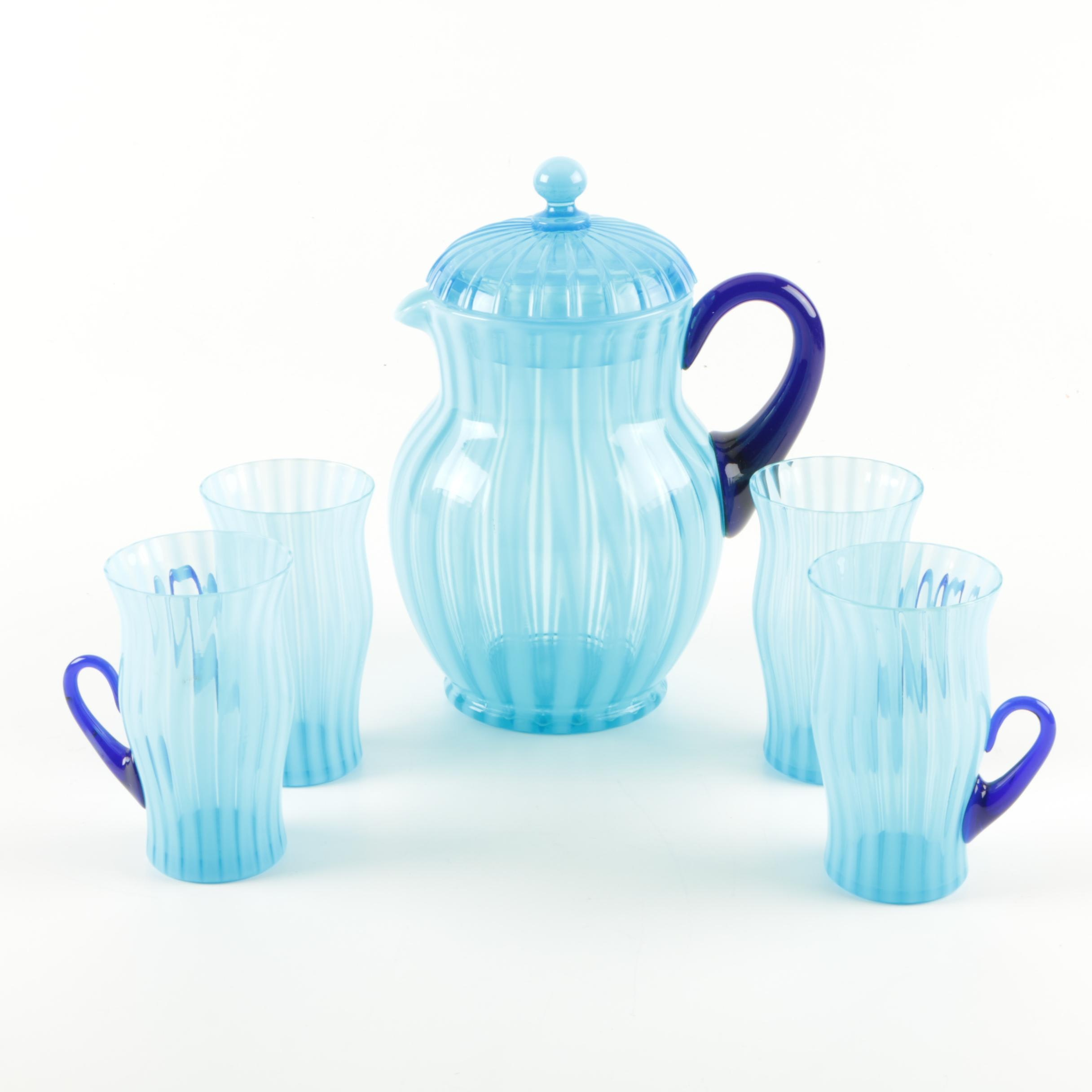 1920's Lemonade Blue Glass Serving Set