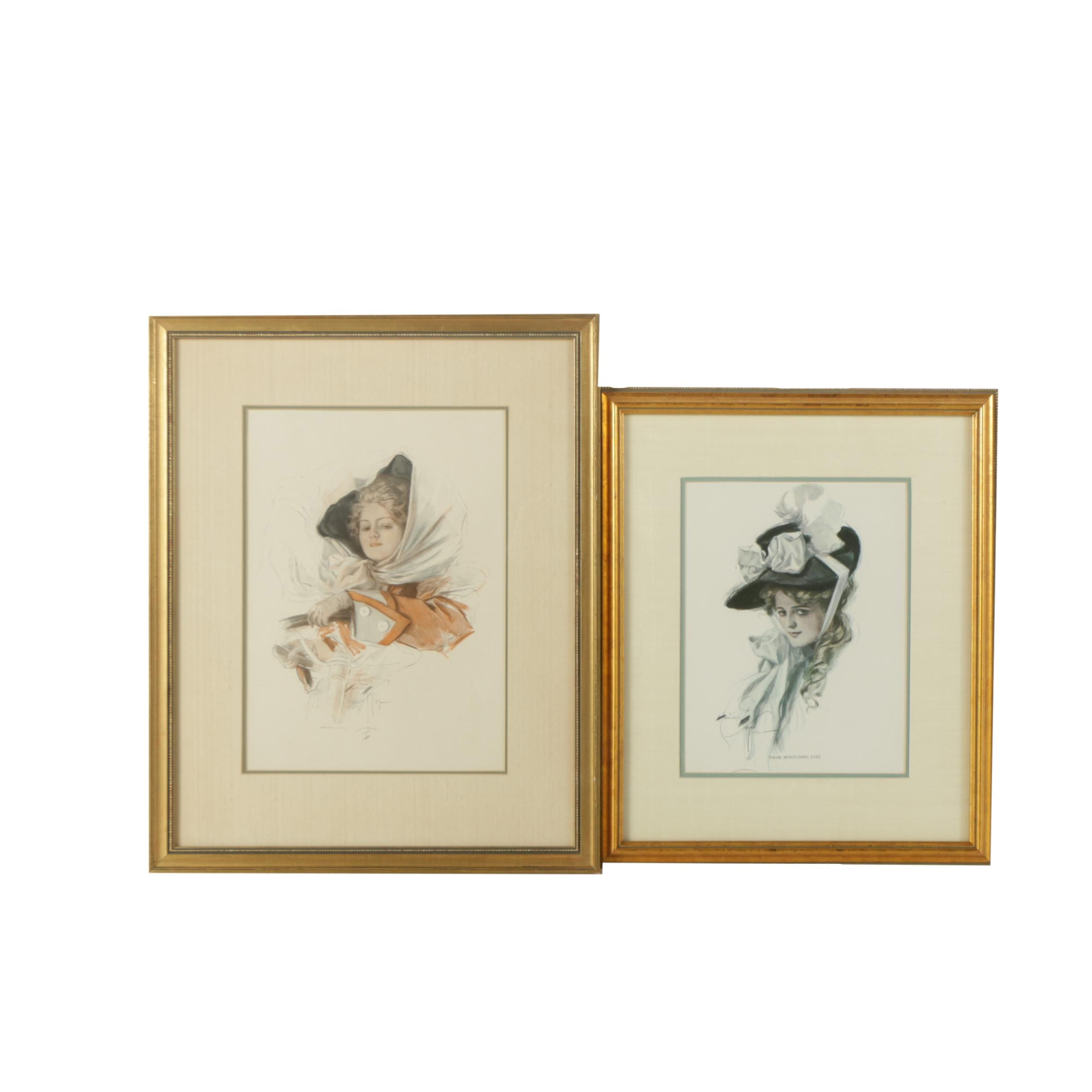 Pair of Offset Lithographs on Paper After Harrison Fisher