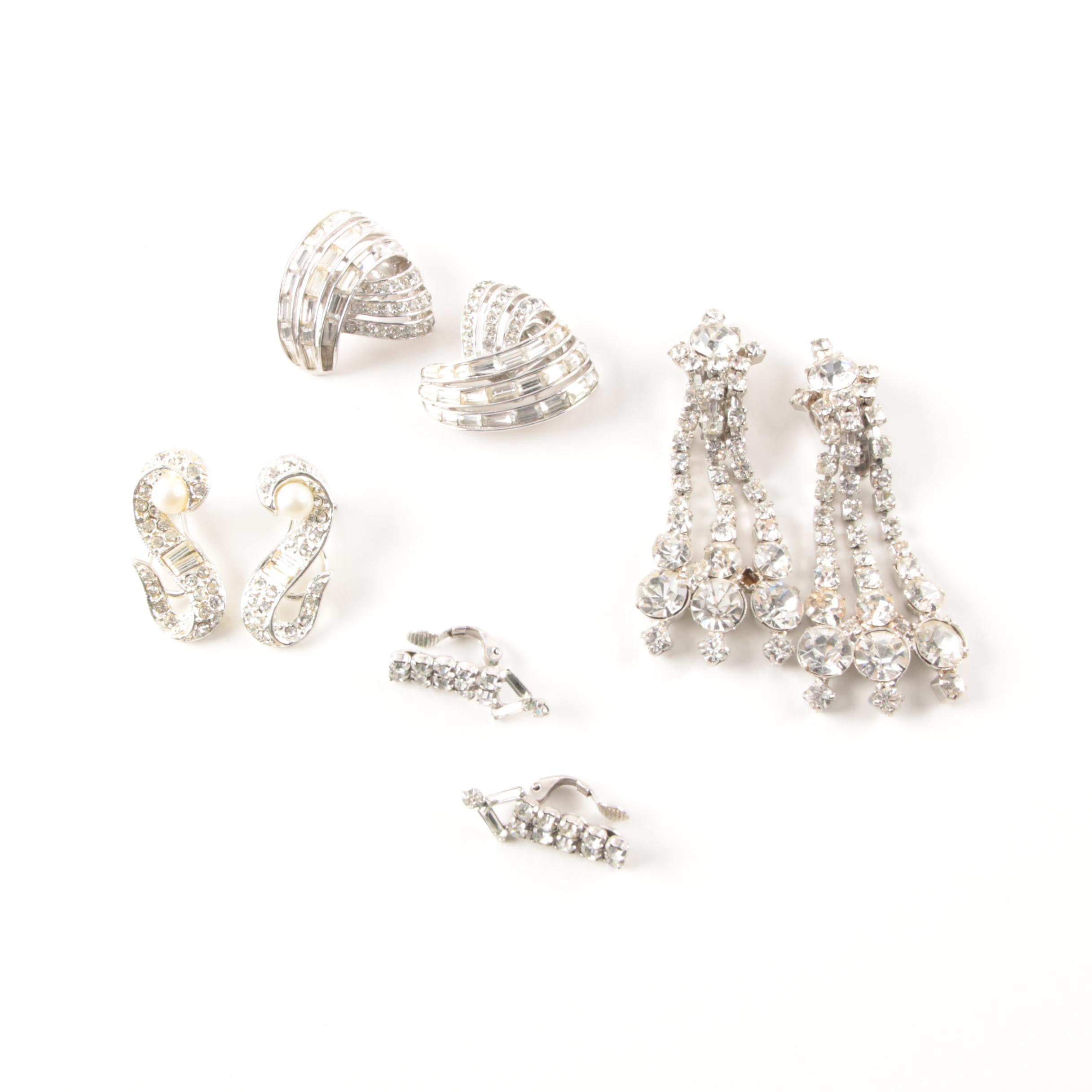 Silver-Tone Clip-On Earring Selection with Foil Back Accents