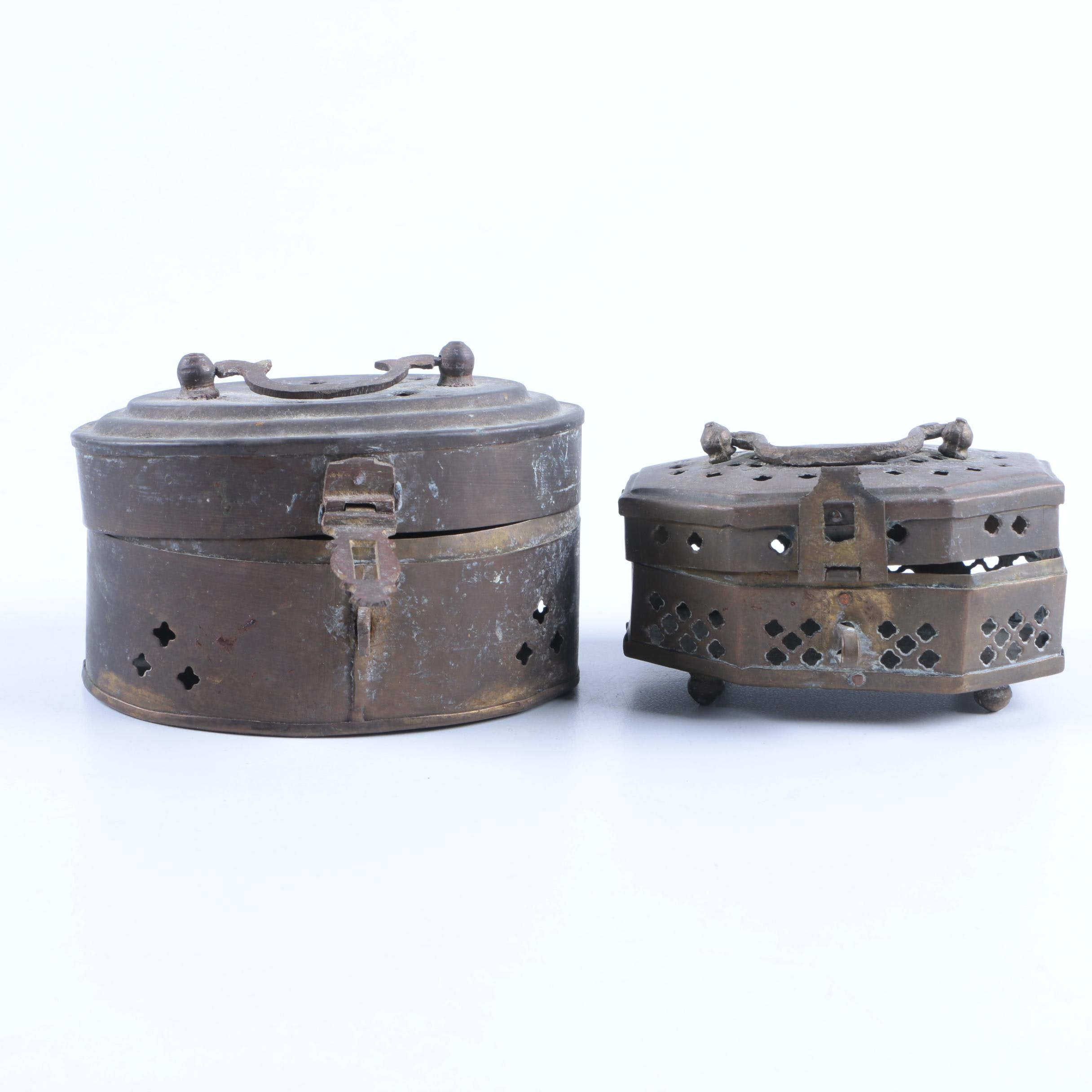 Pierced Brass Covered Trinket Boxes