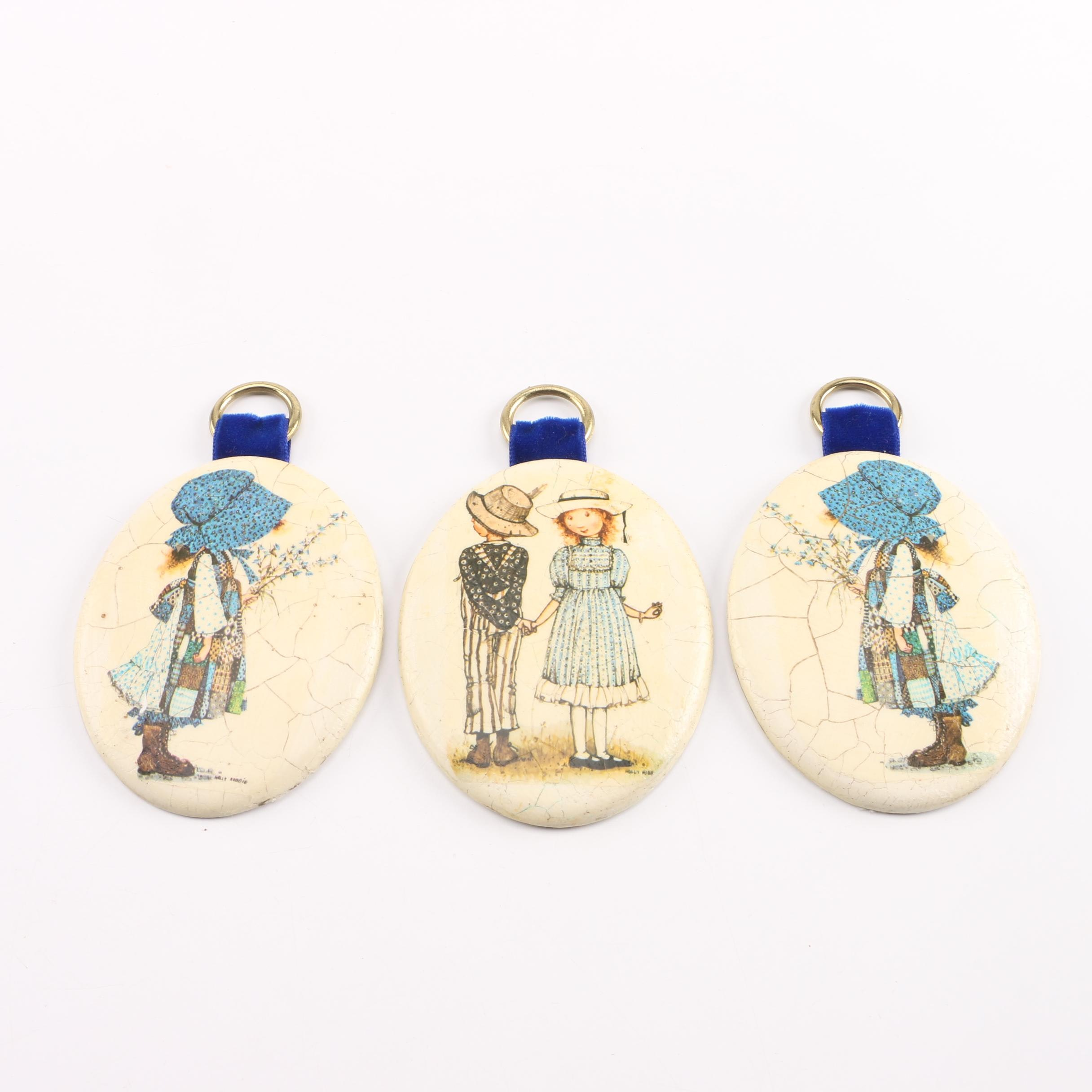 Set of Holly Hobbie Decoupage Chalkware Plaques