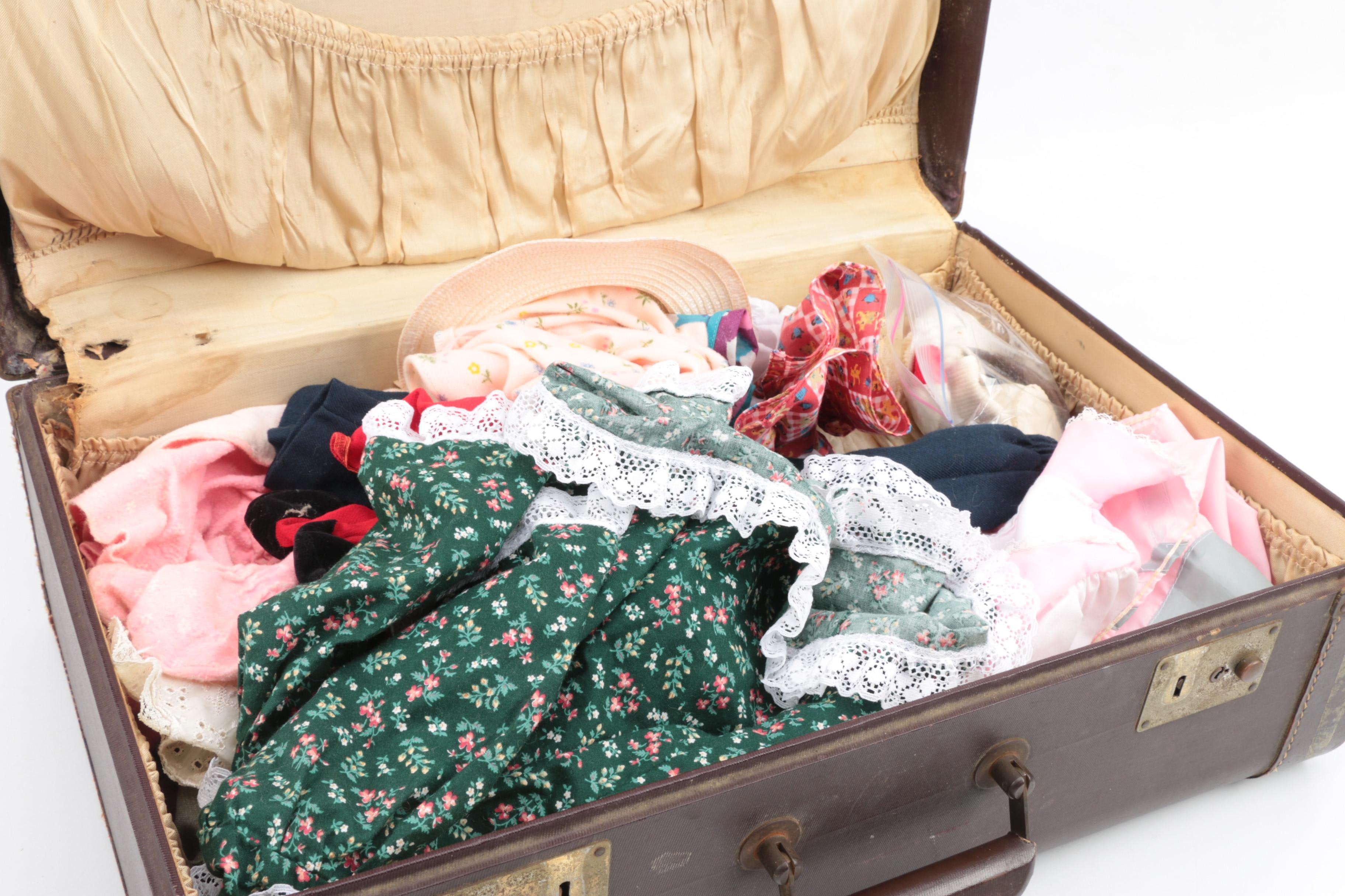 Doll Clothing in Vintage Suitcase