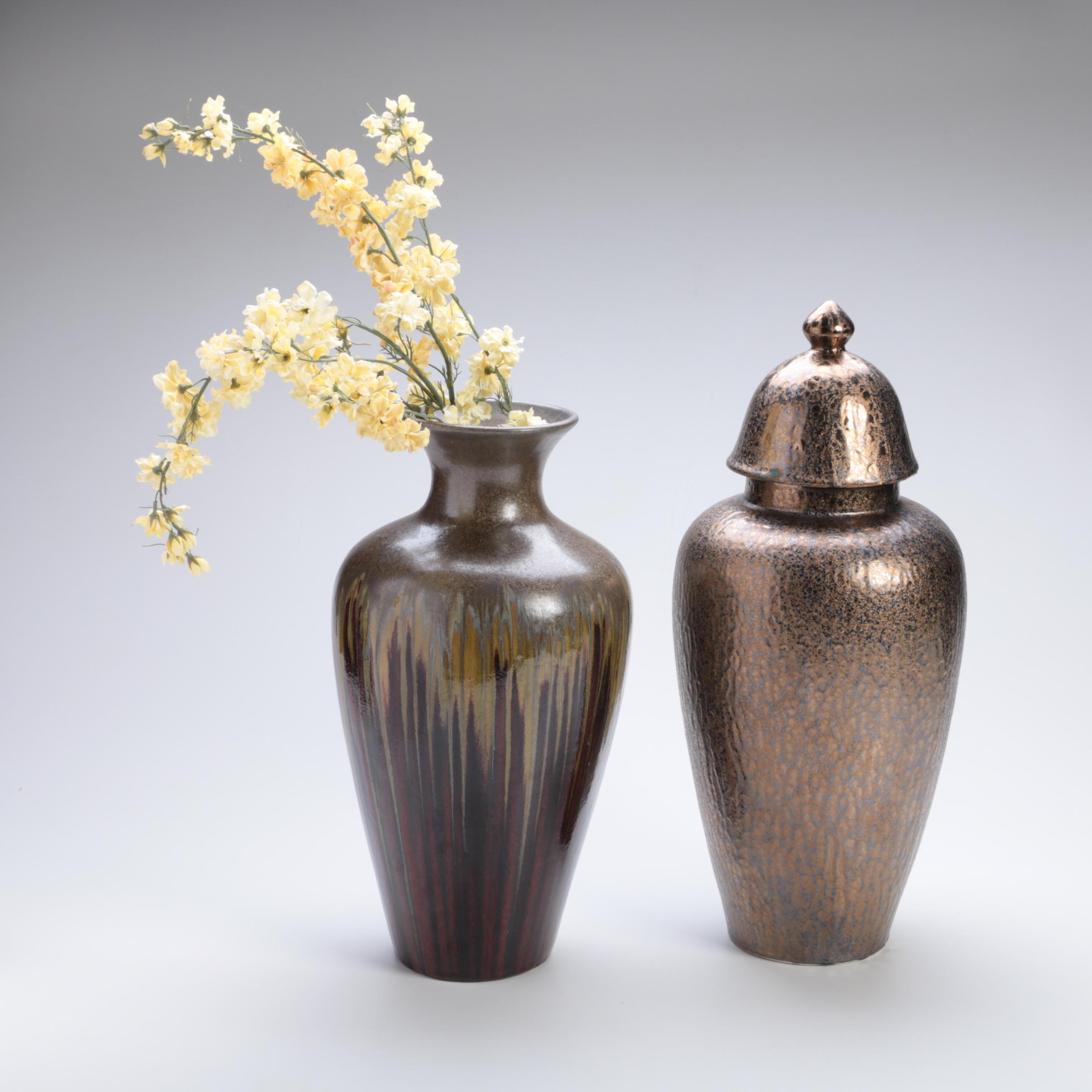Ceramic Decor Vases with a Metallic Finish