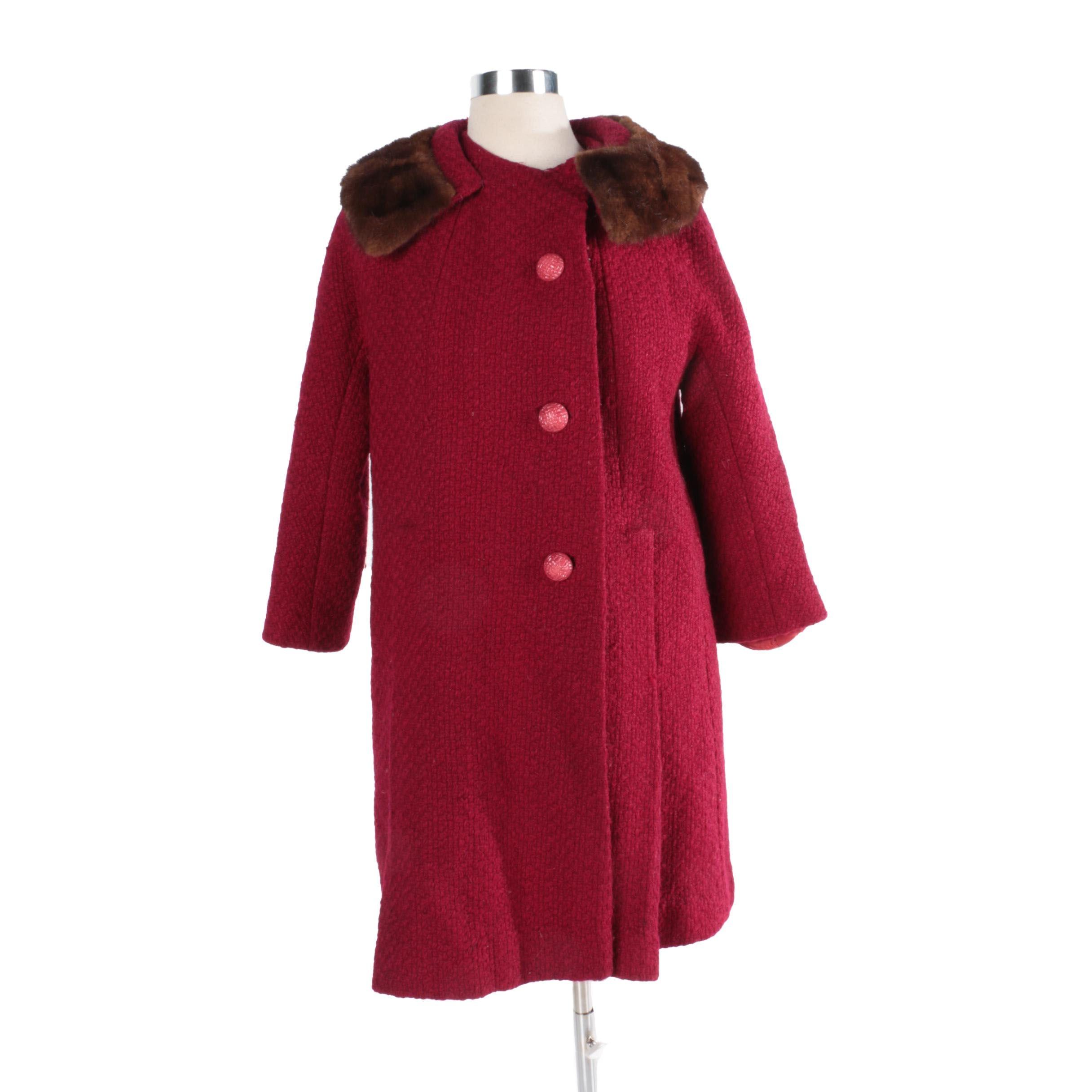 Women's Vintage Mink-Trimmed Wool Bouclé Coat