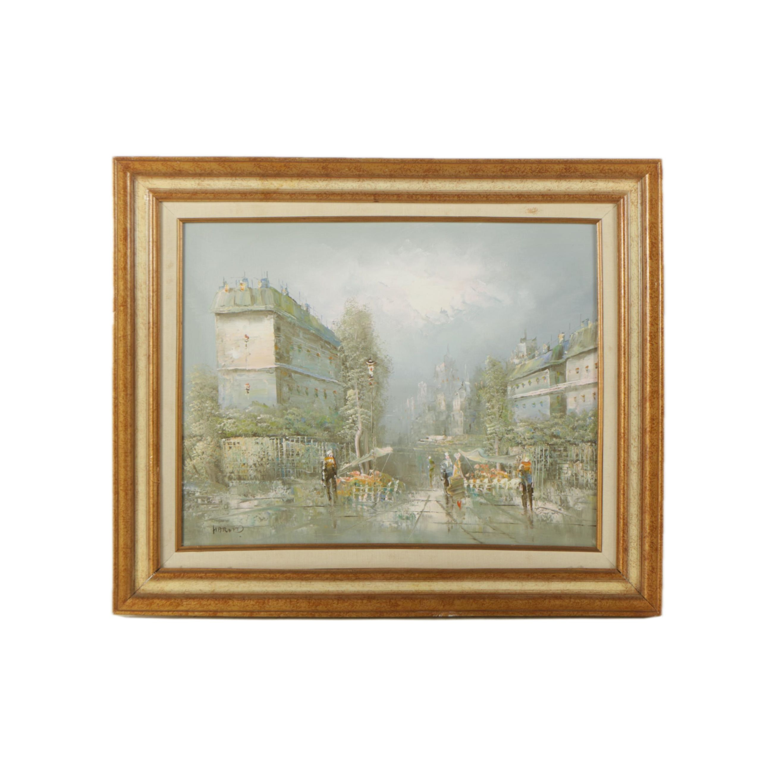 Harand Oil Painting on Canvas of Impressionist-Inspired Parisian Street Scene