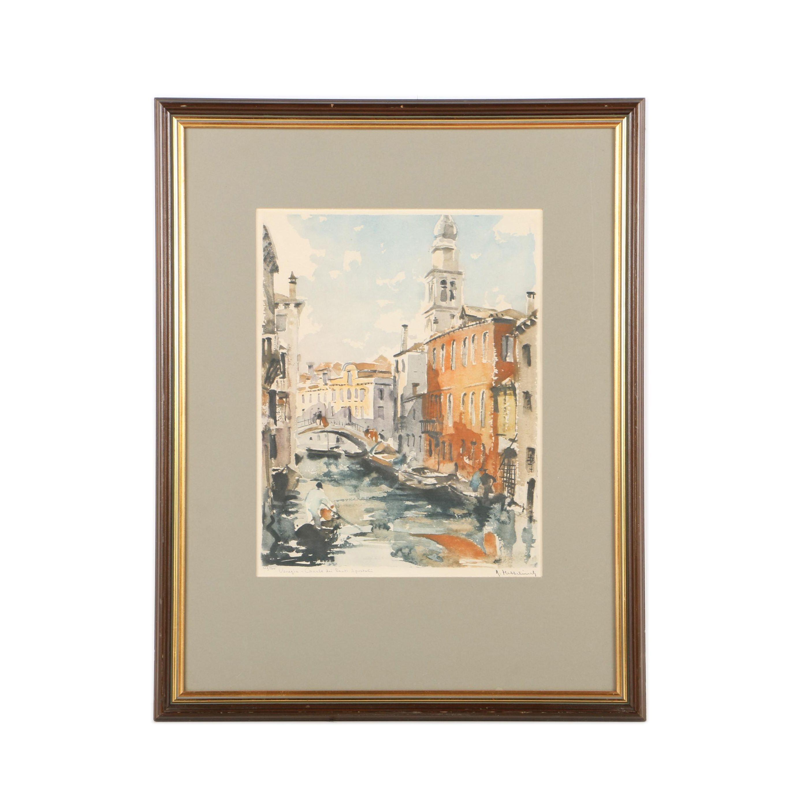 "Roger Hebbelinck Limited Edition Lithograph ""Venezia, Canale dei Santi Apostoli"""