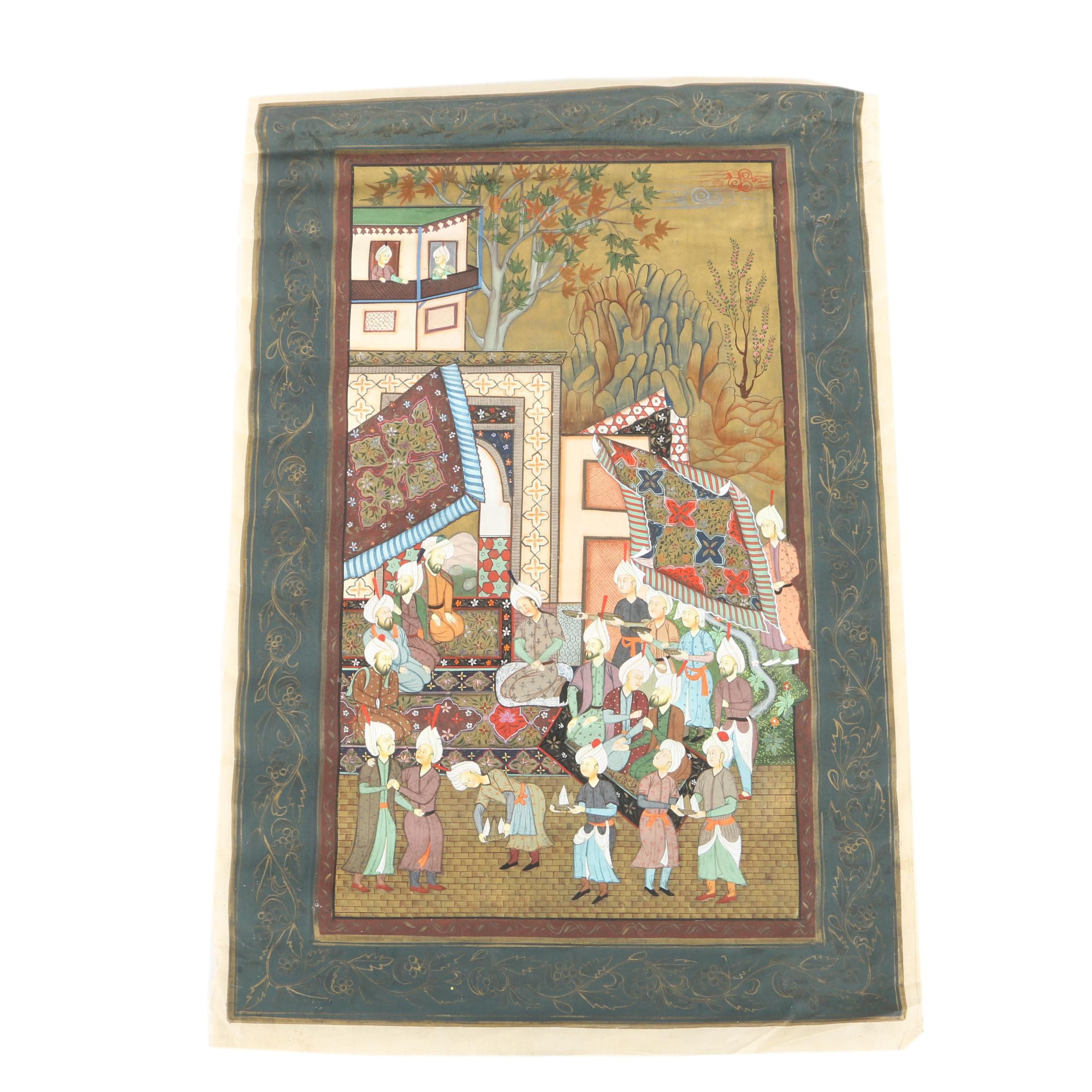 Indo-Persian Style Gouache Painting on Silk of Gathering