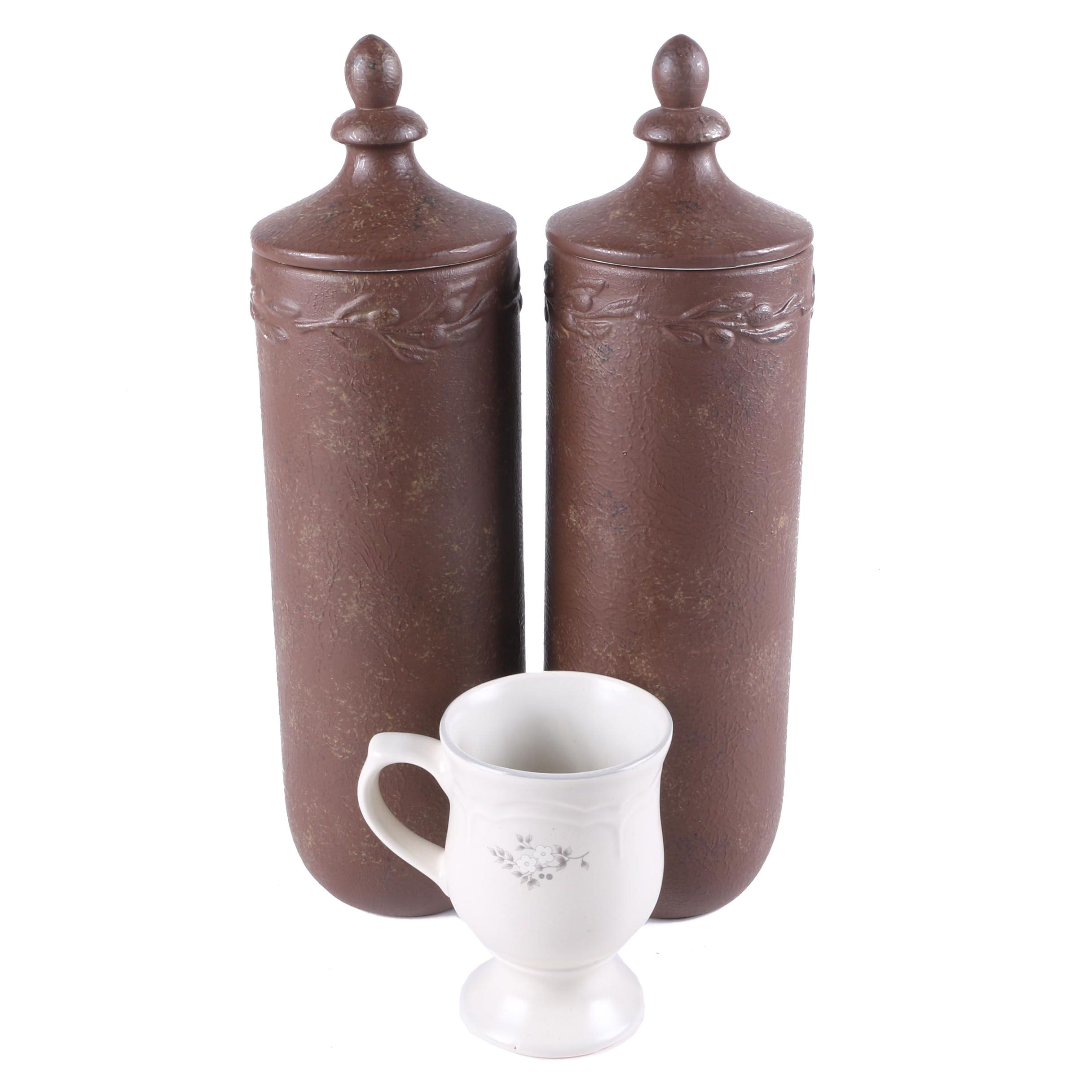 Pair of Lidded Canisters and Coffee Cup