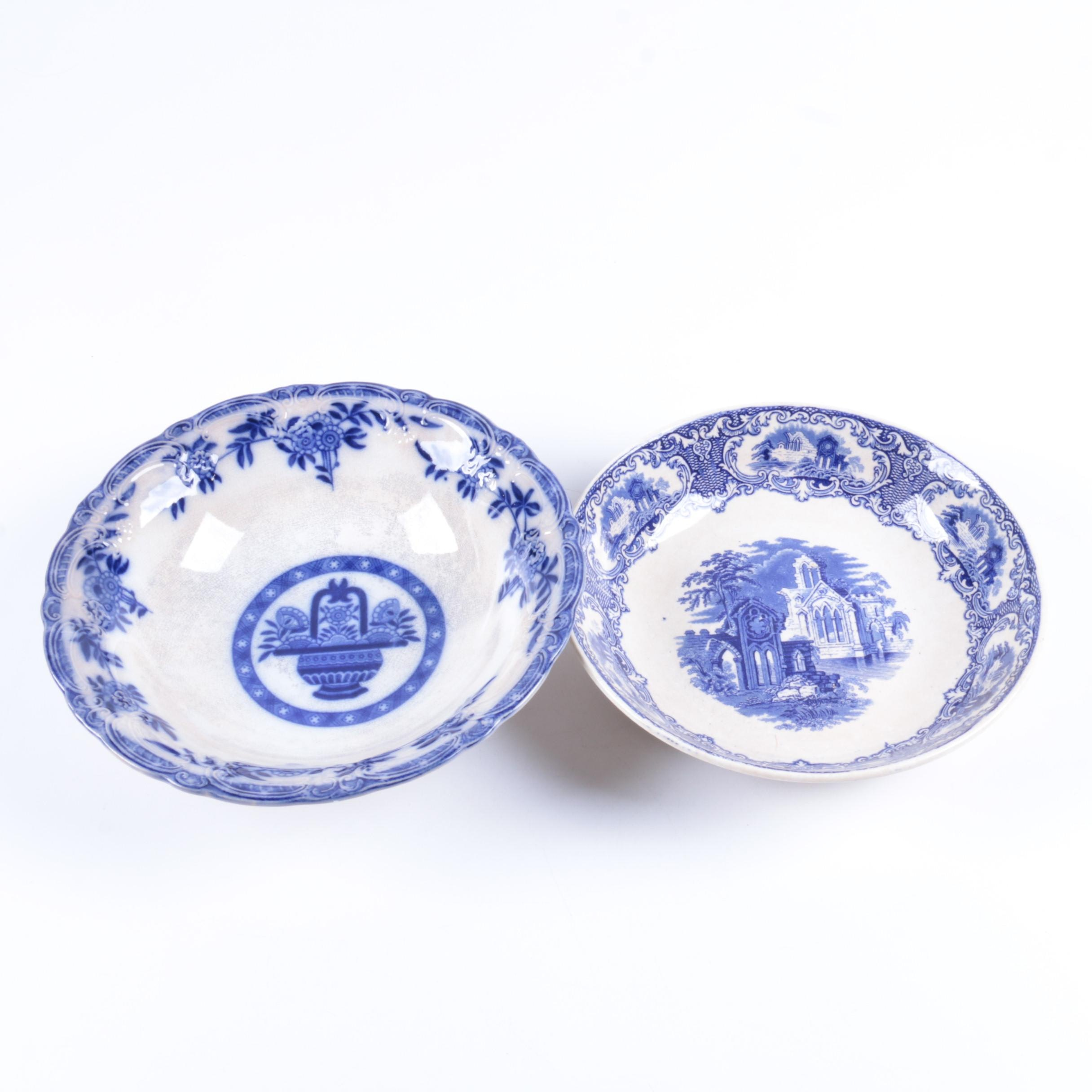 Vintage Blue and White Transferware Bowls
