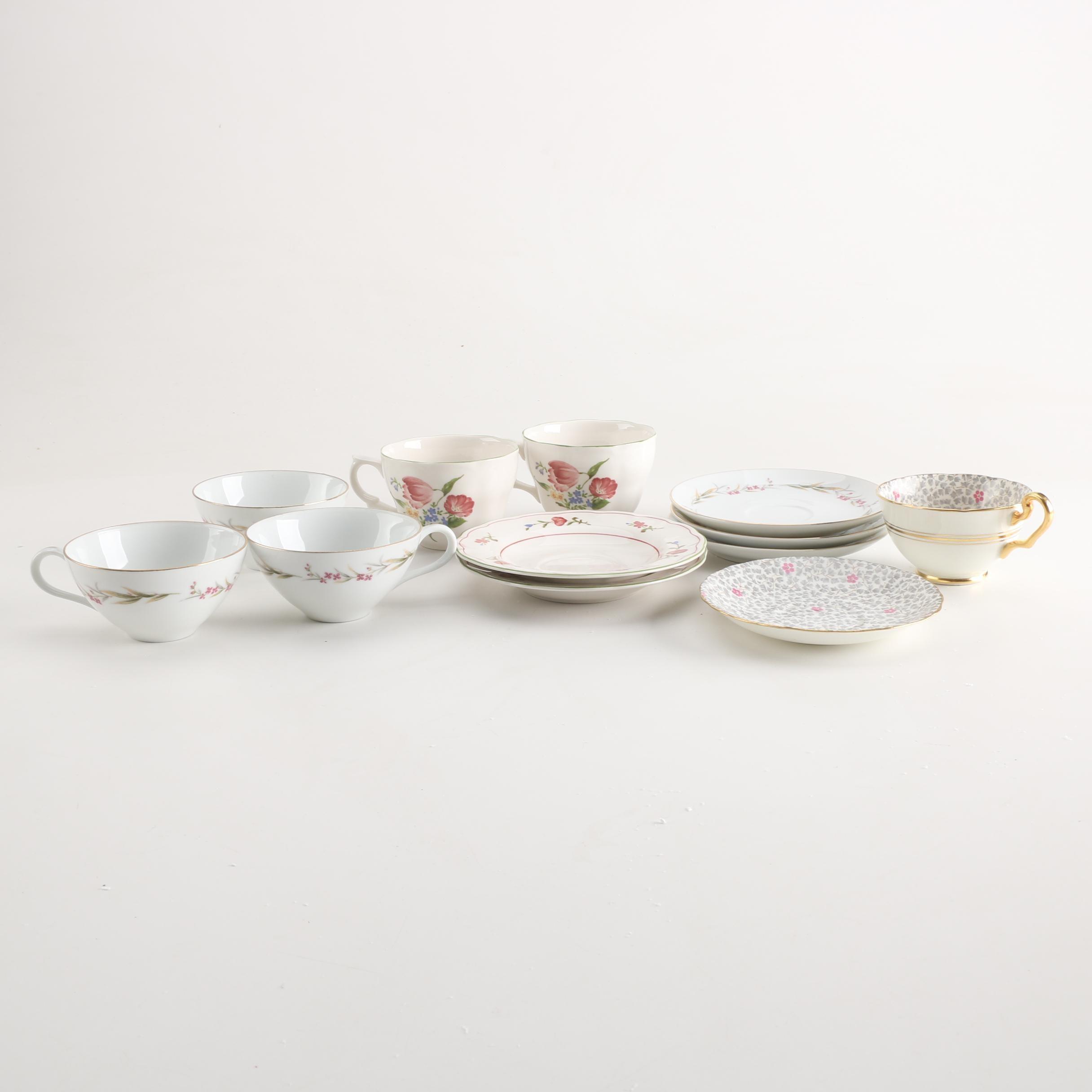 Vintage Porcelain Teacups and Saucers Including Victoria Bone China