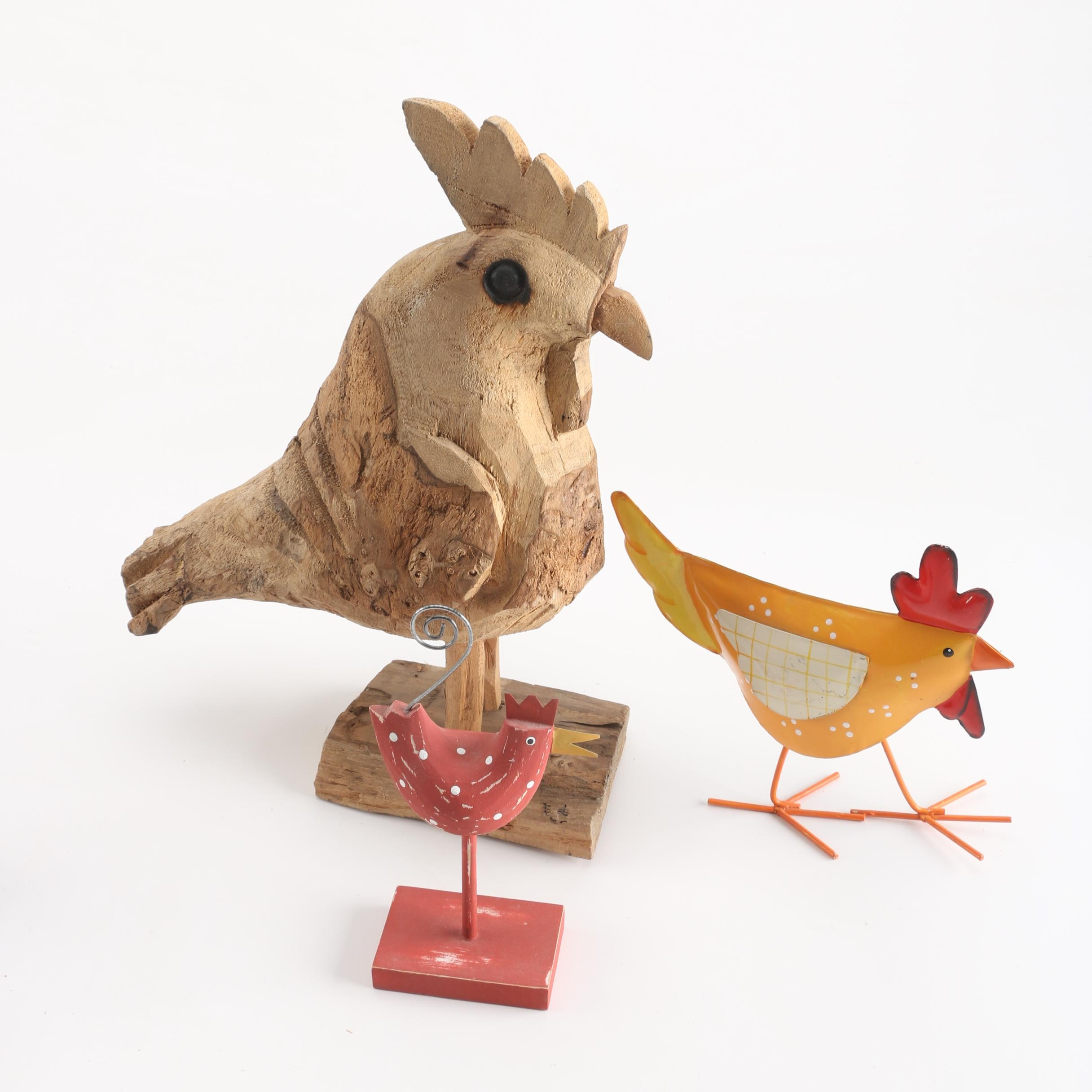 Wood and Metal Rooster Figurines