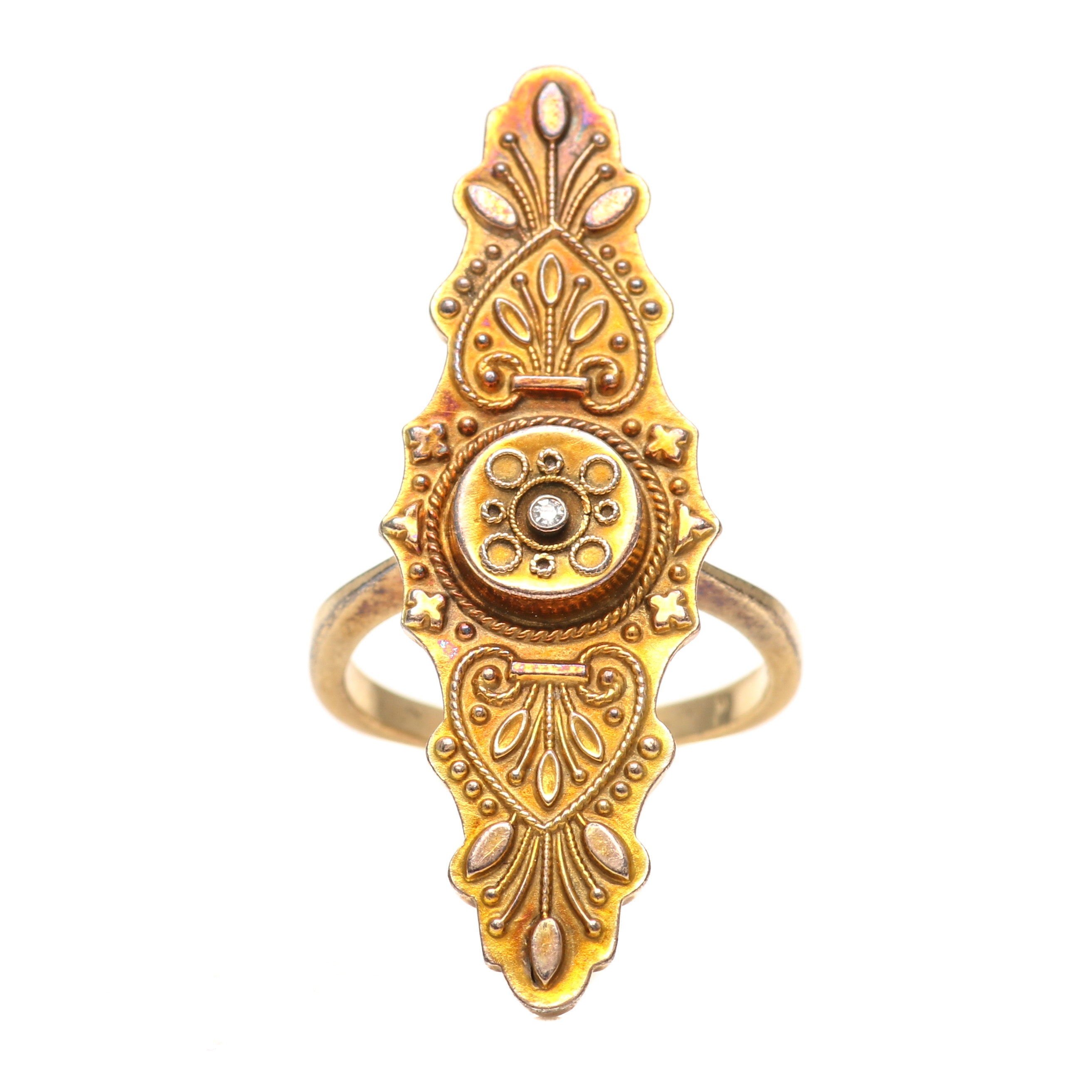 9K and 14K Yellow Gold Diamond Ring With Victorian Accents