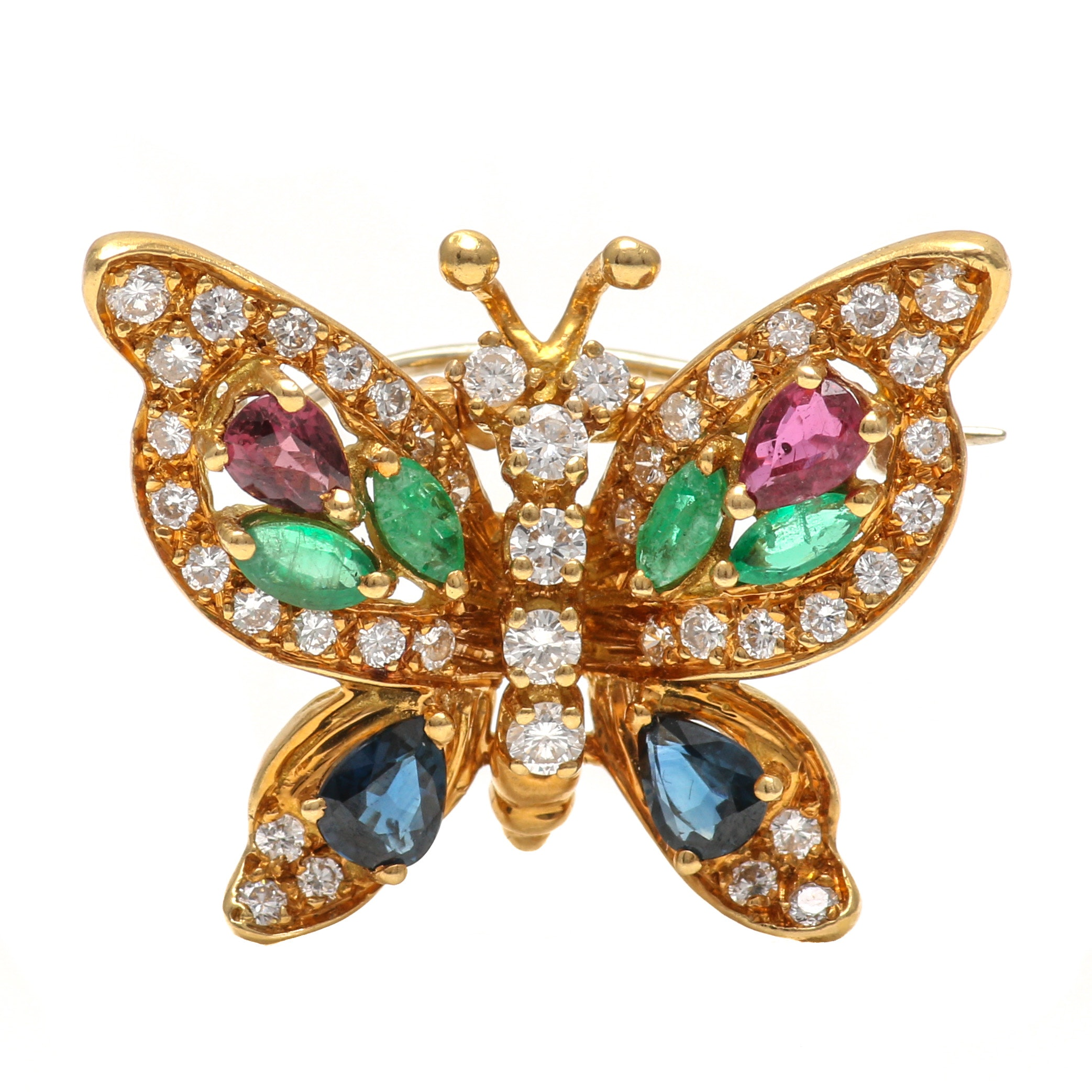 18K Yellow Gold 1.10 CT Diamond and Gemstone Butterfly Brooch