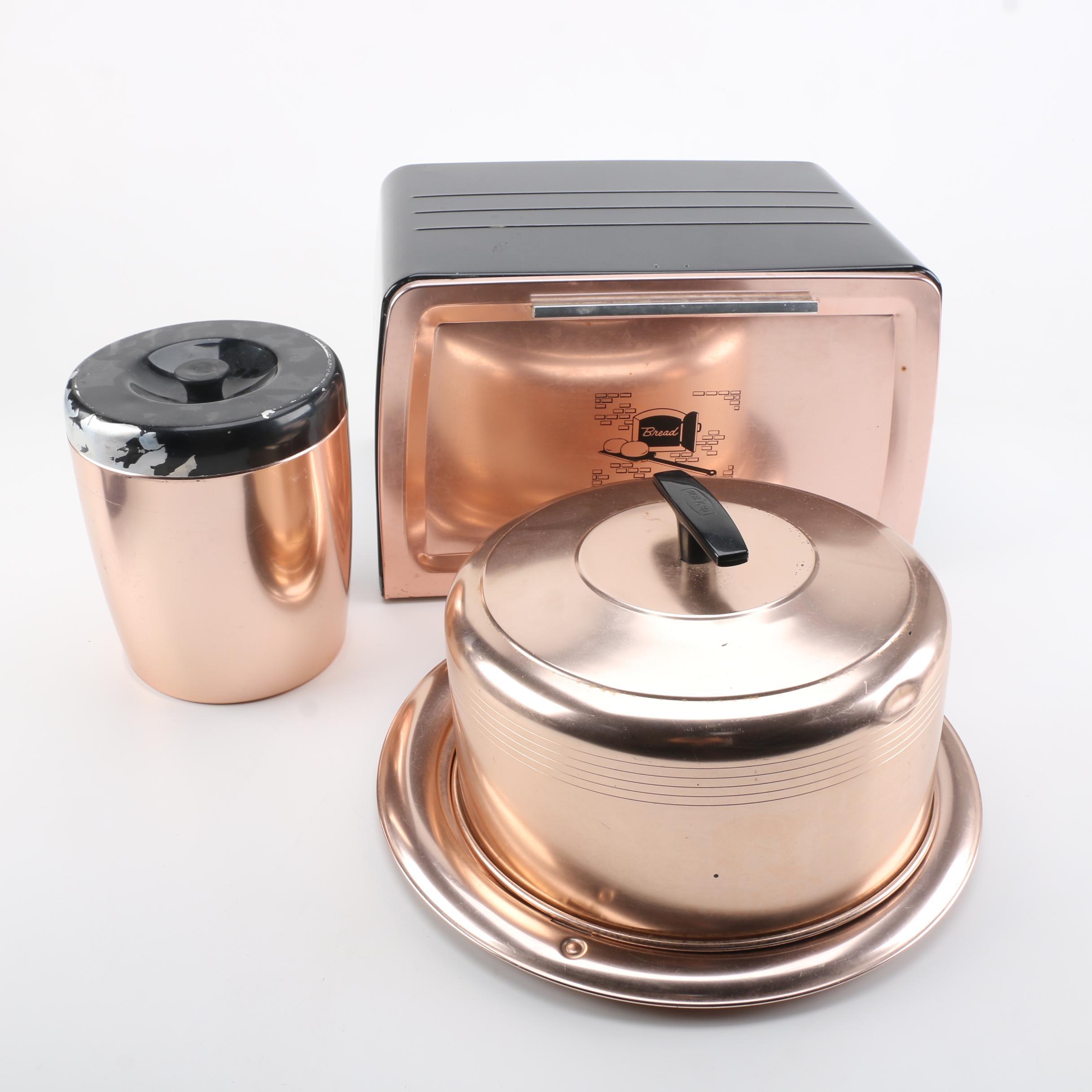 1950s Copper Tone Kitchen Accessories