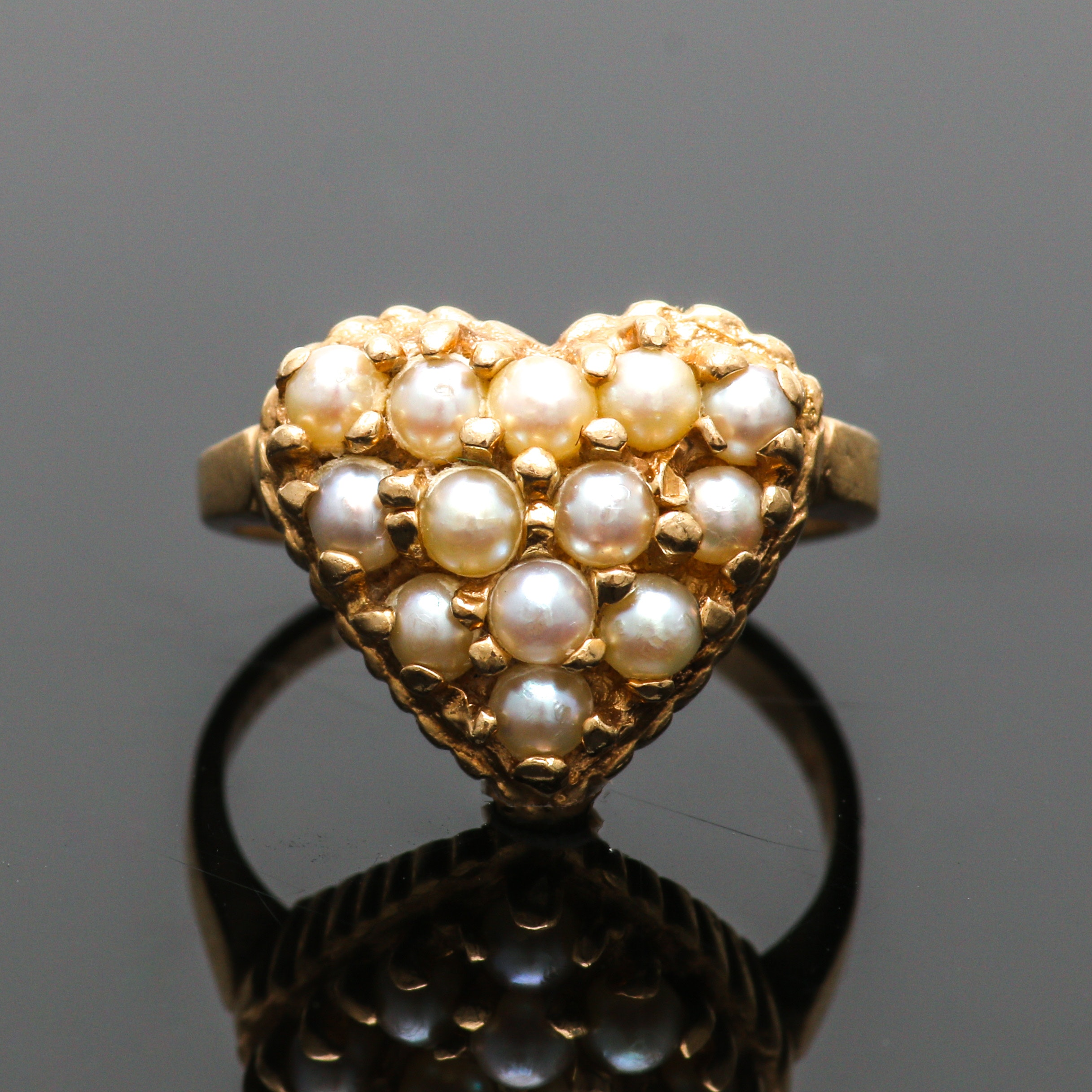 Vintage 10K Yellow Gold Seed Pearl Ring