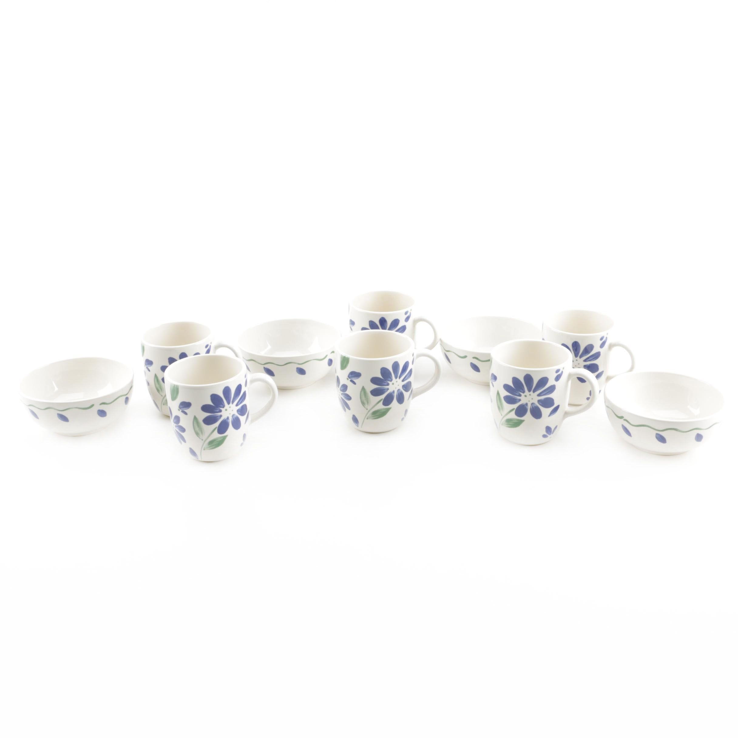 Blue Floral Stoneware Cups and Bowls