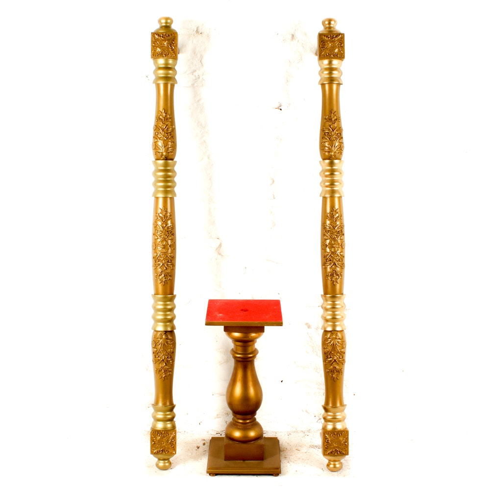 Decorative Gold Tone Wood Accents and Baluster Stand