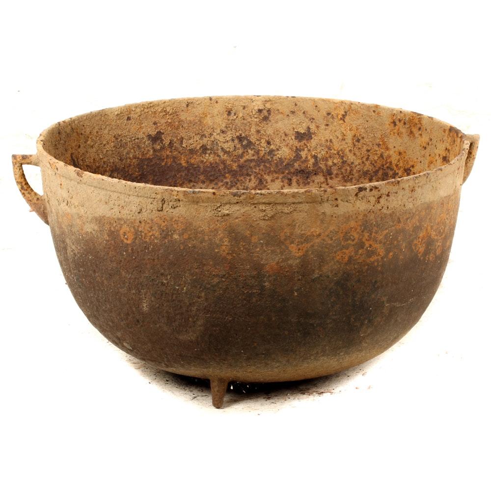 Substantial Antique Footed Cast Iron Cauldron