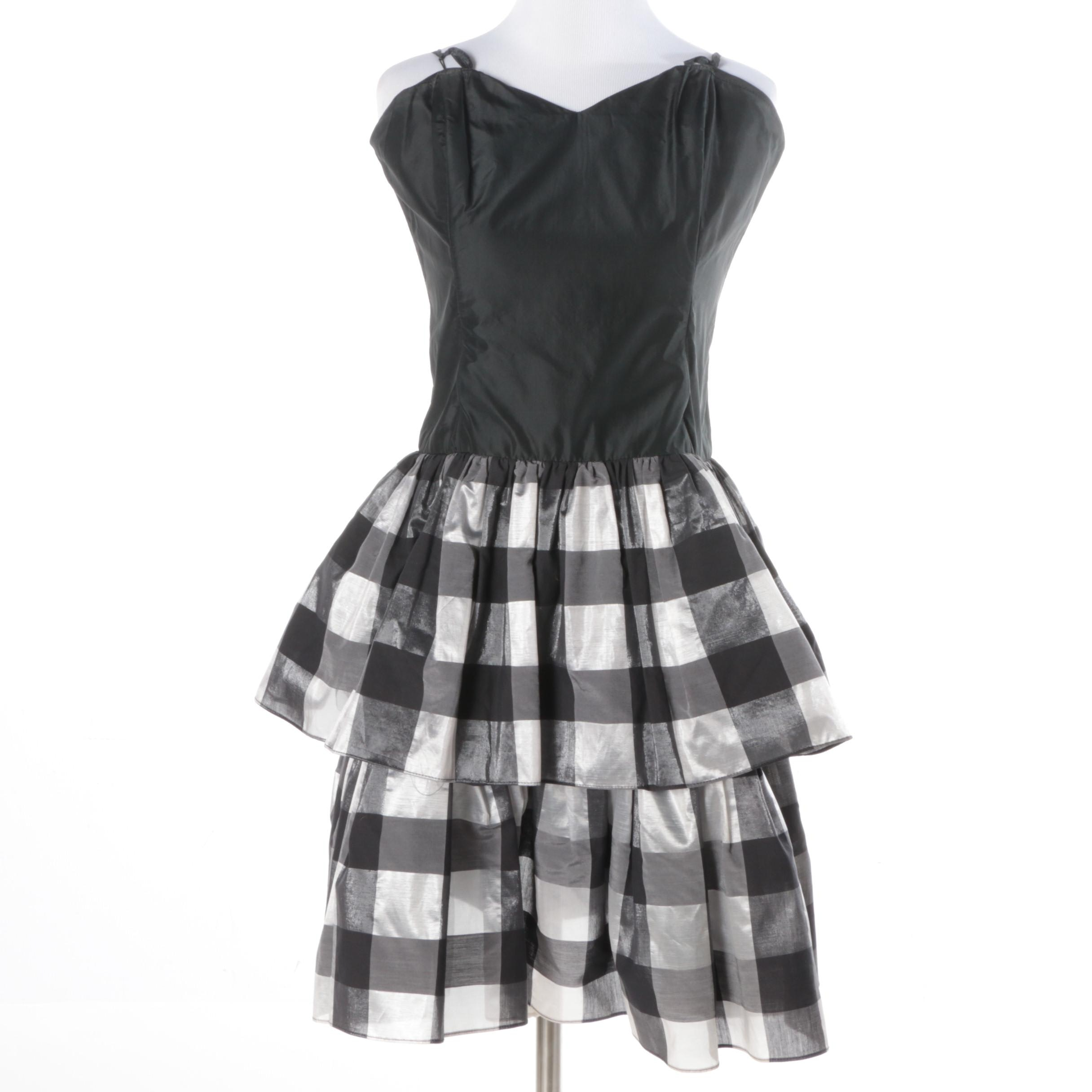 Black and Silver Plaid Sleeveless Dress