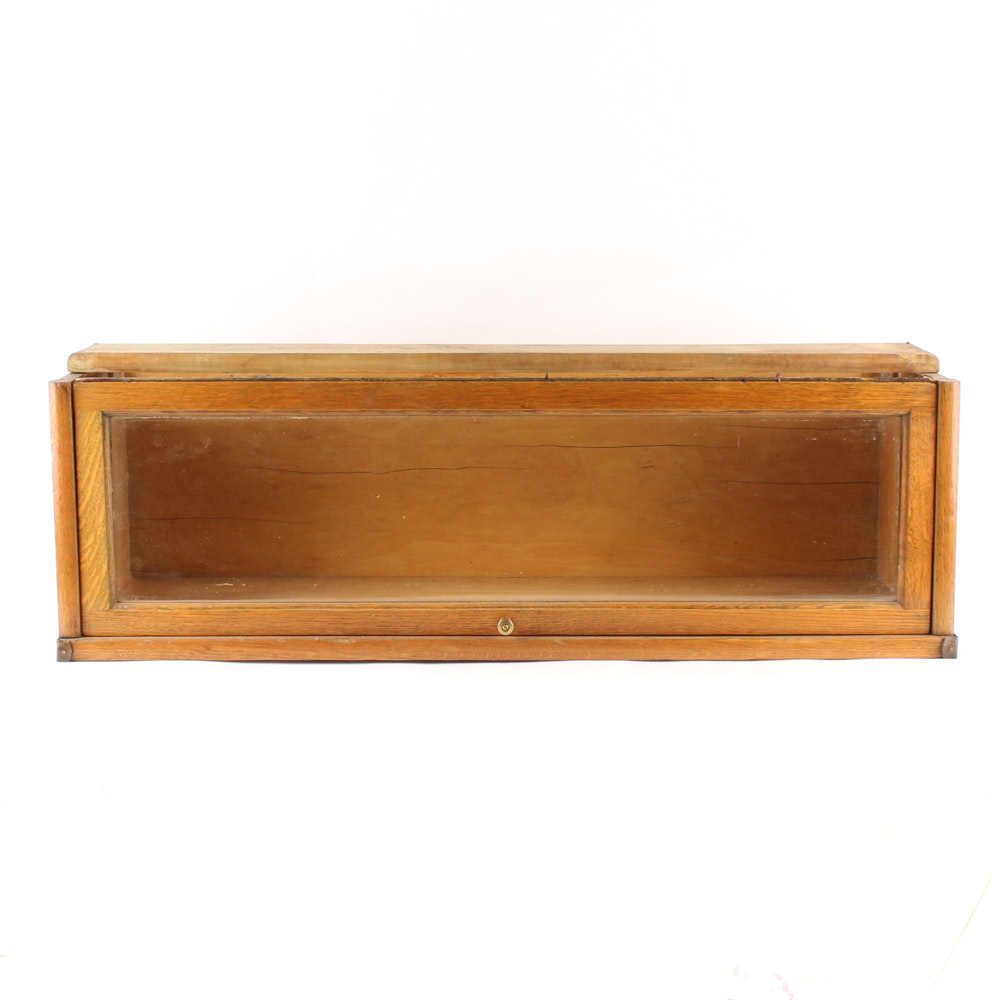 Vintage Oak and Glass Barrister Bookcase Section